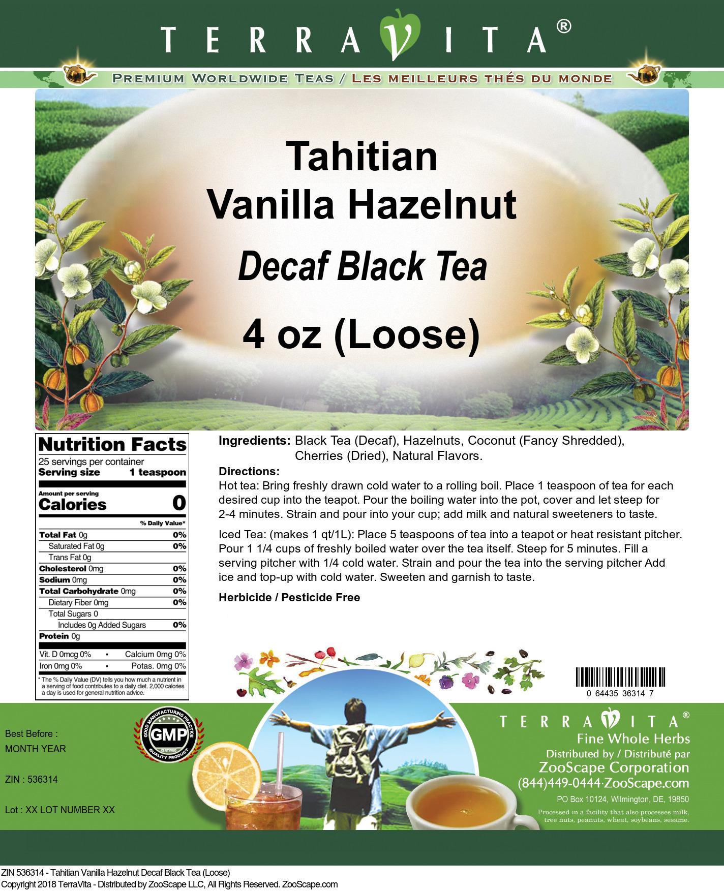 Tahitian Vanilla Hazelnut Decaf Black Tea (Loose)