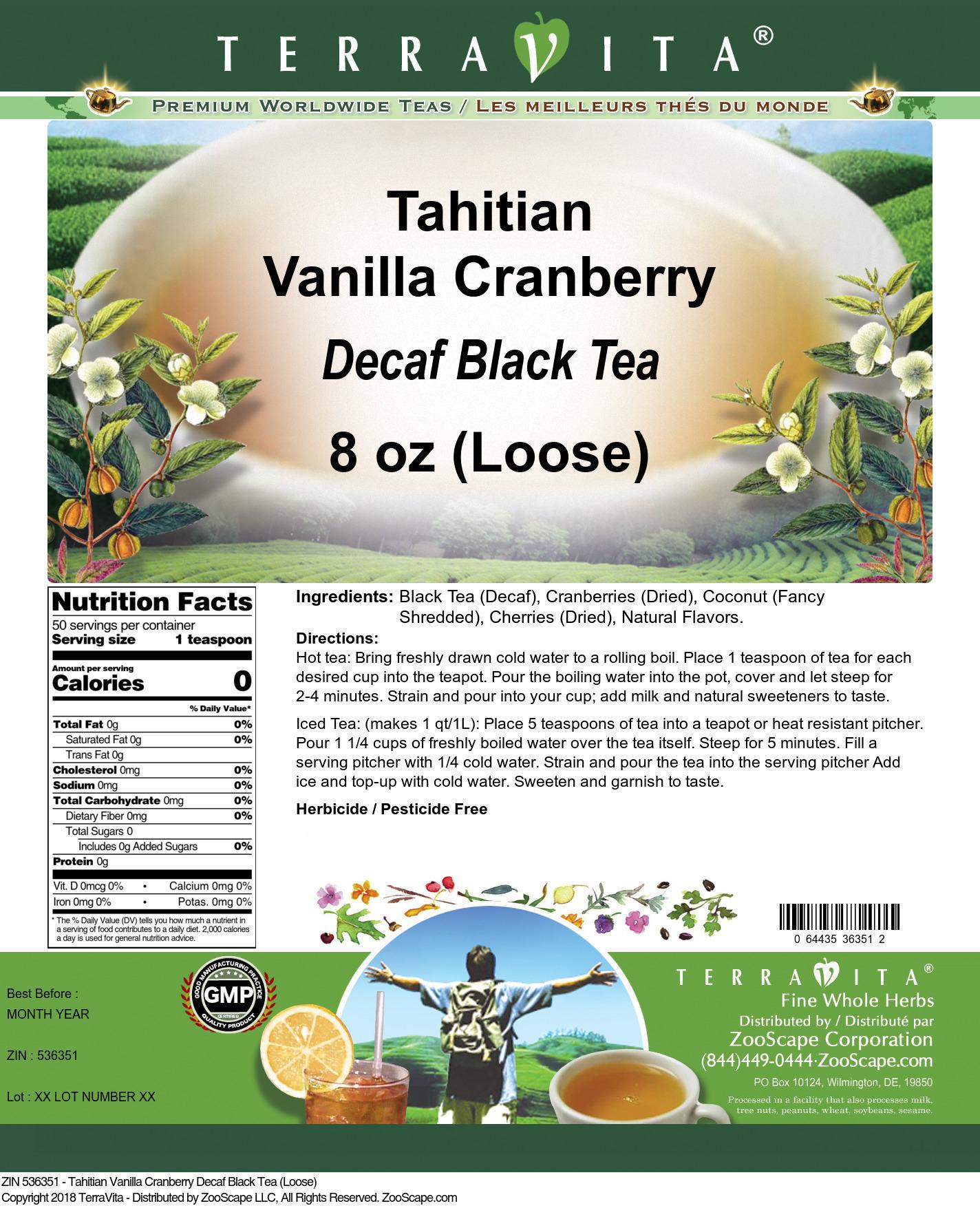 Tahitian Vanilla Cranberry Decaf Black Tea (Loose)