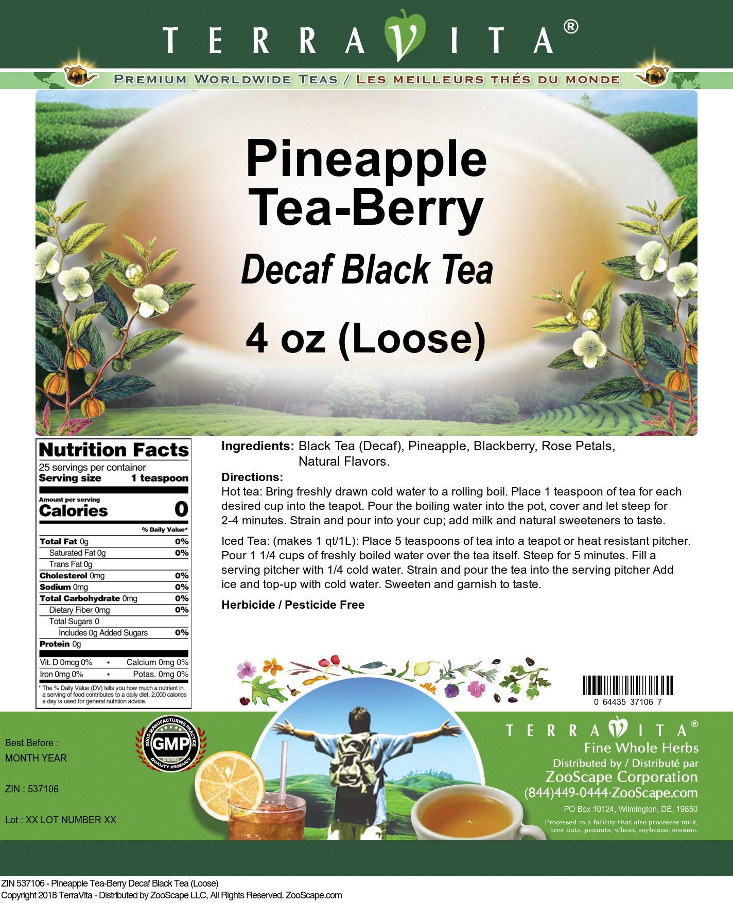 Pineapple Tea-Berry Decaf Black Tea