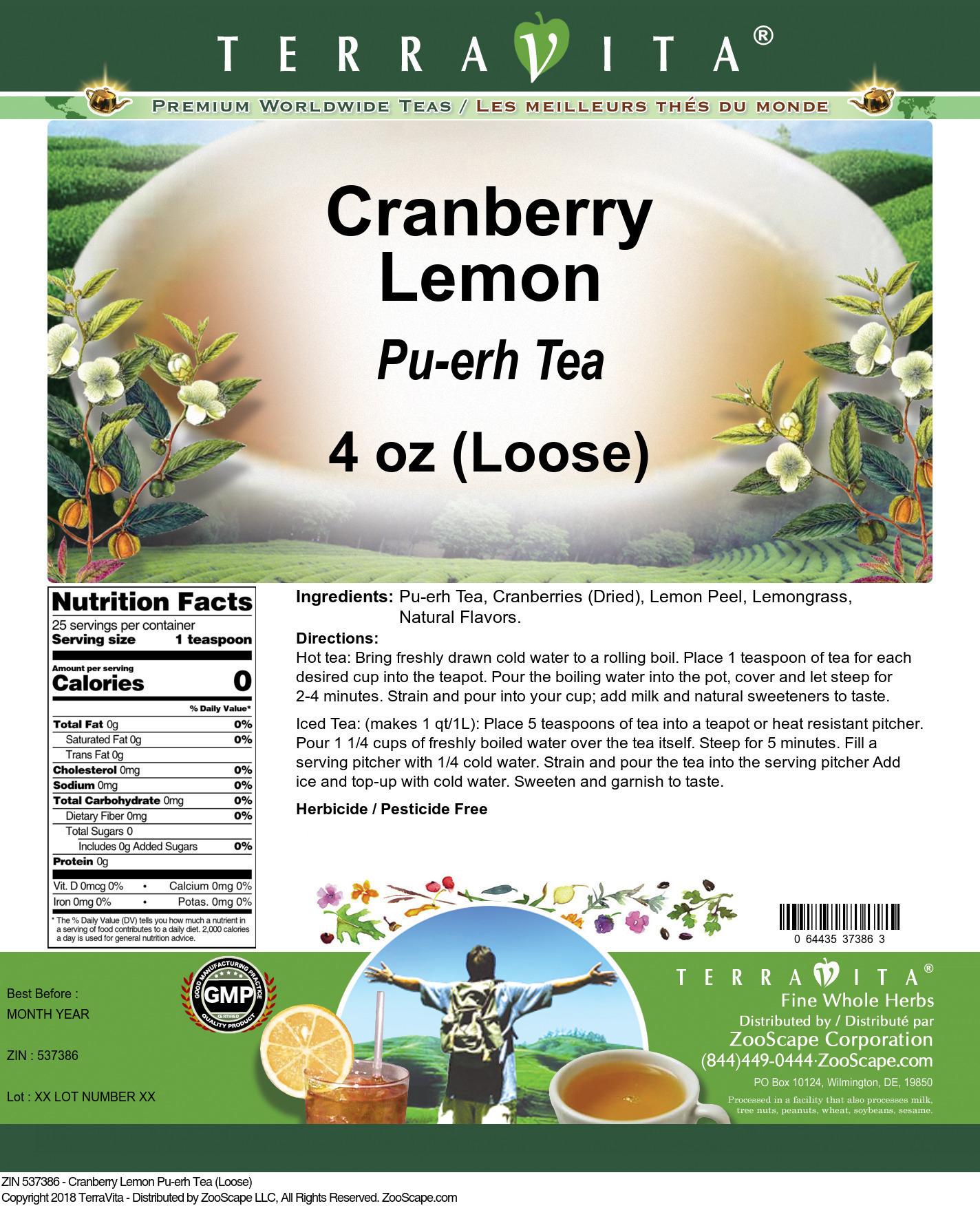 Cranberry Lemon Pu-erh Tea (Loose)