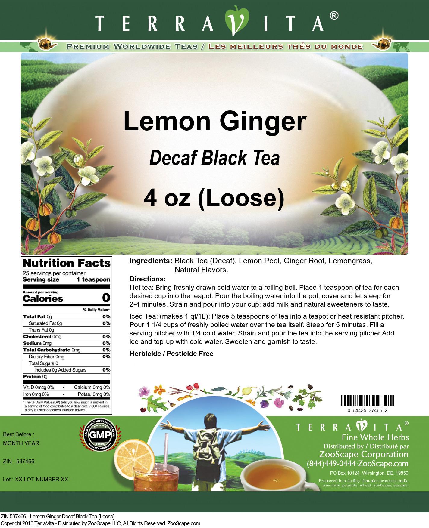 Lemon Ginger Decaf Black Tea (Loose)
