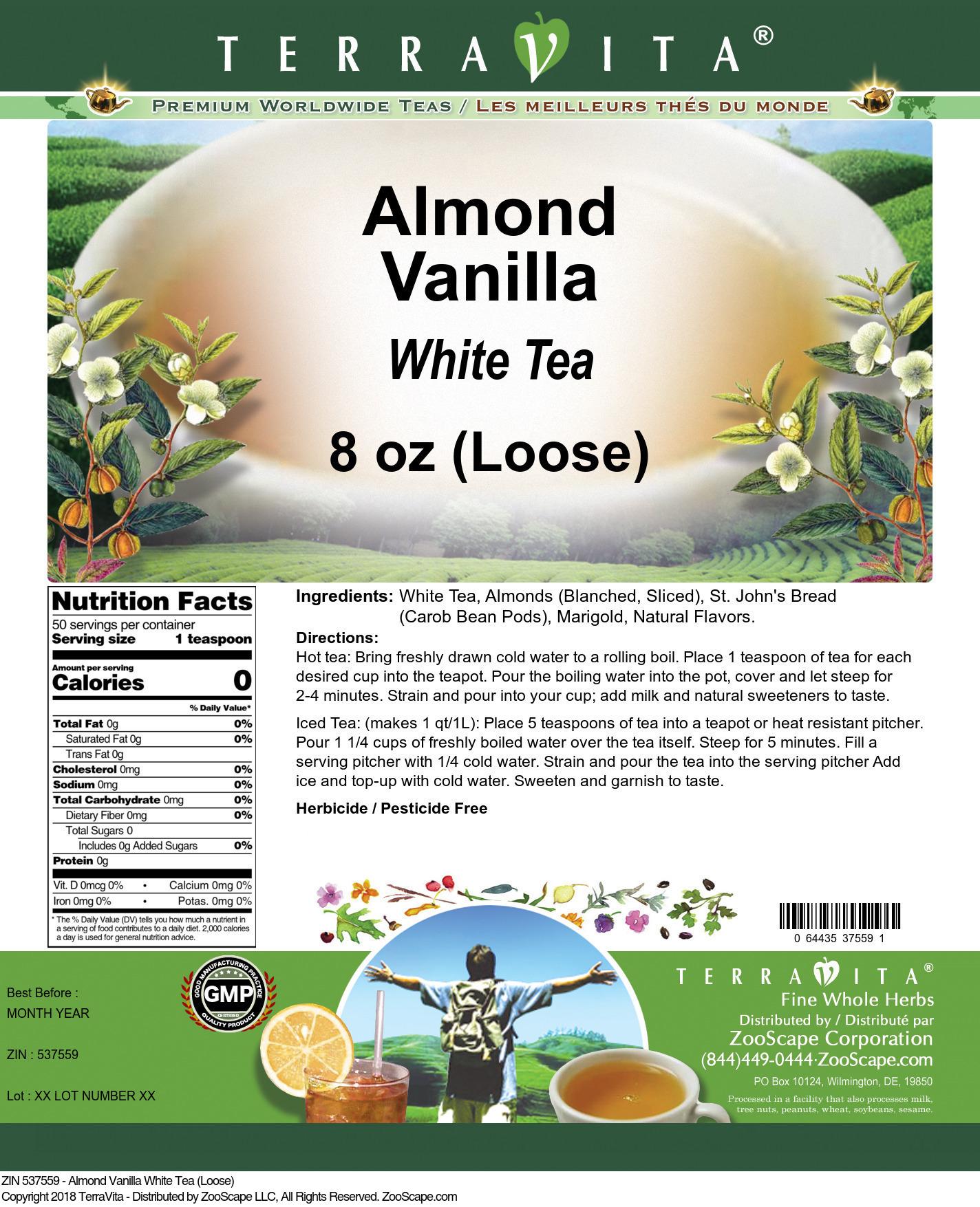 Almond Vanilla White Tea (Loose)