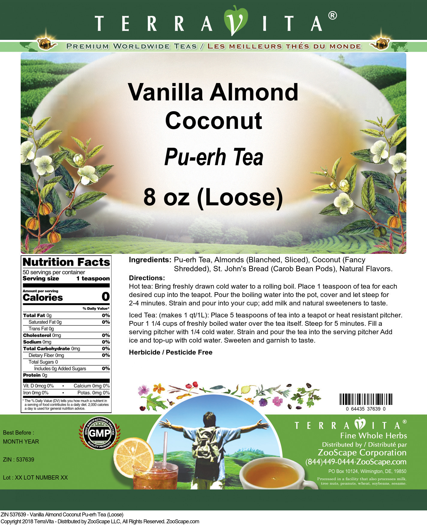 Vanilla Almond Coconut Pu-erh Tea (Loose)