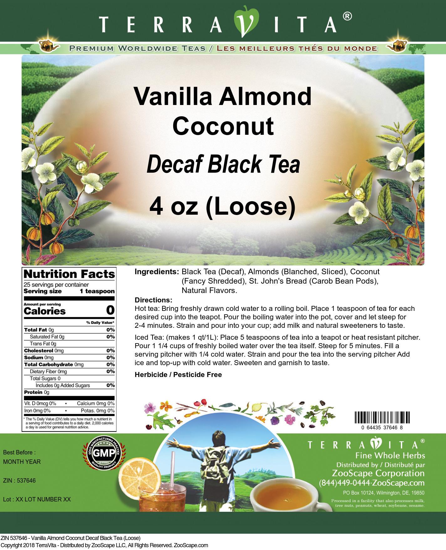 Vanilla Almond Coconut Decaf Black Tea (Loose)