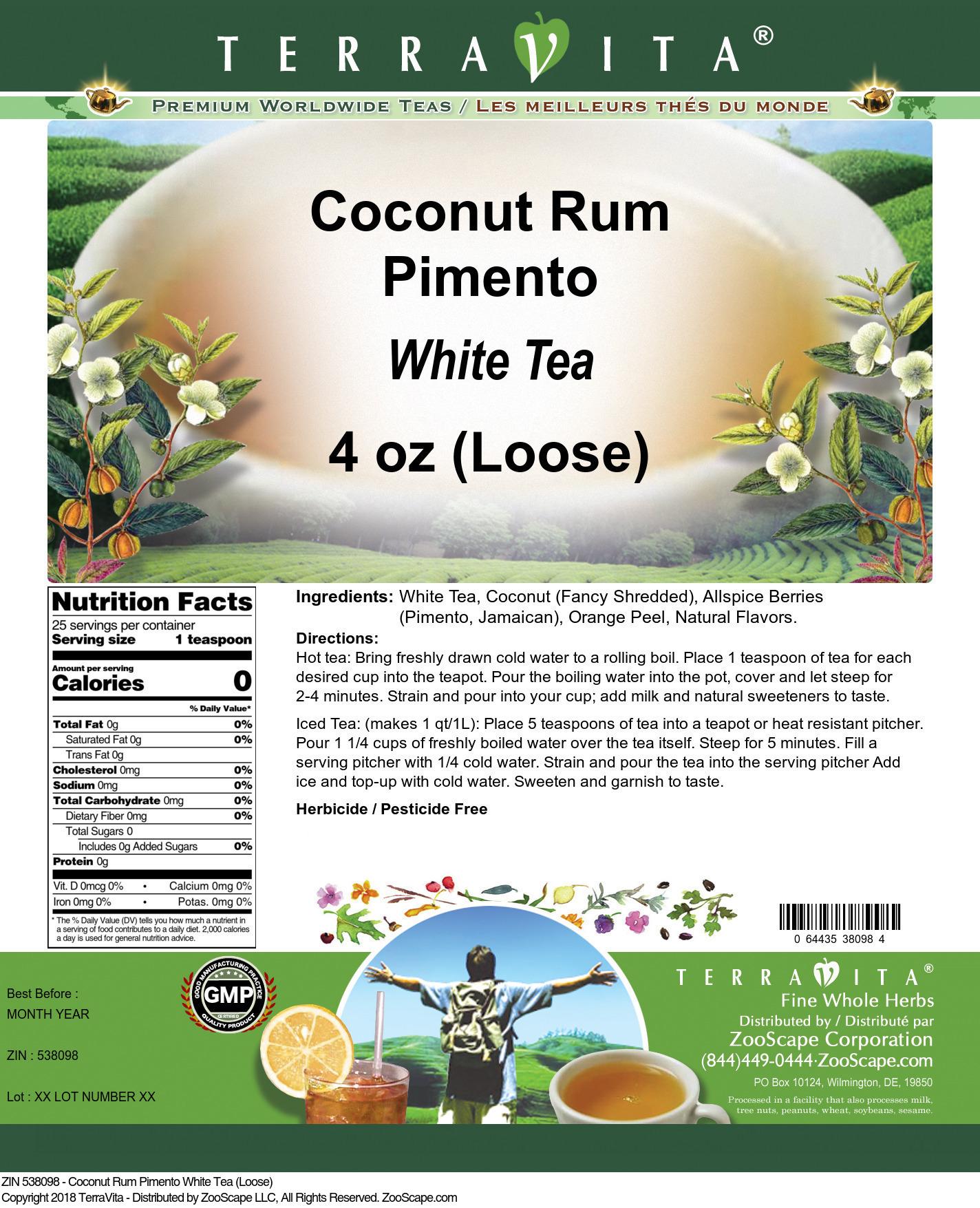 Coconut Rum Pimento White Tea (Loose)