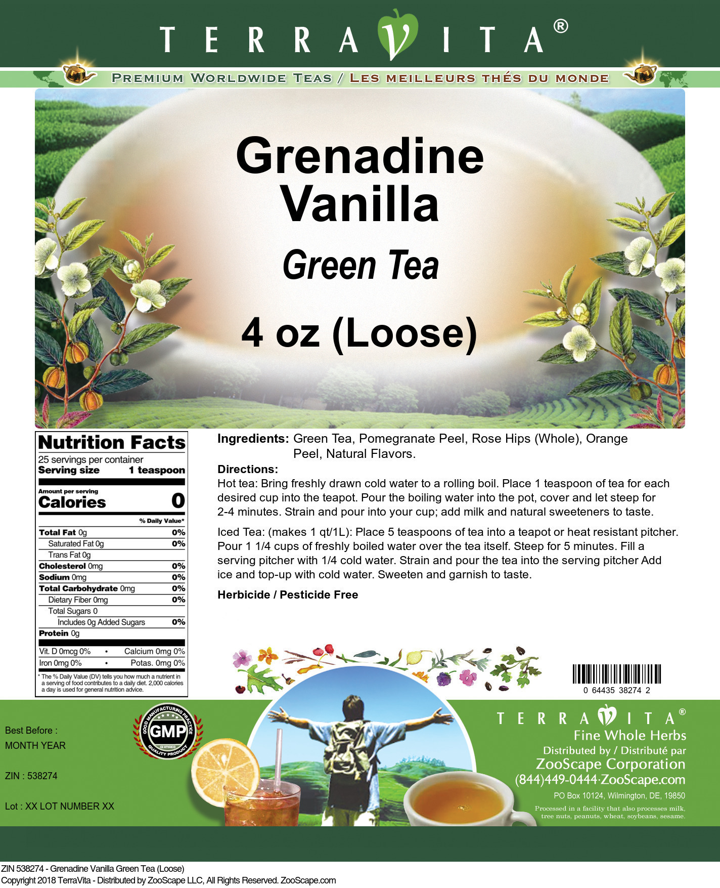 Grenadine Vanilla Green Tea (Loose)