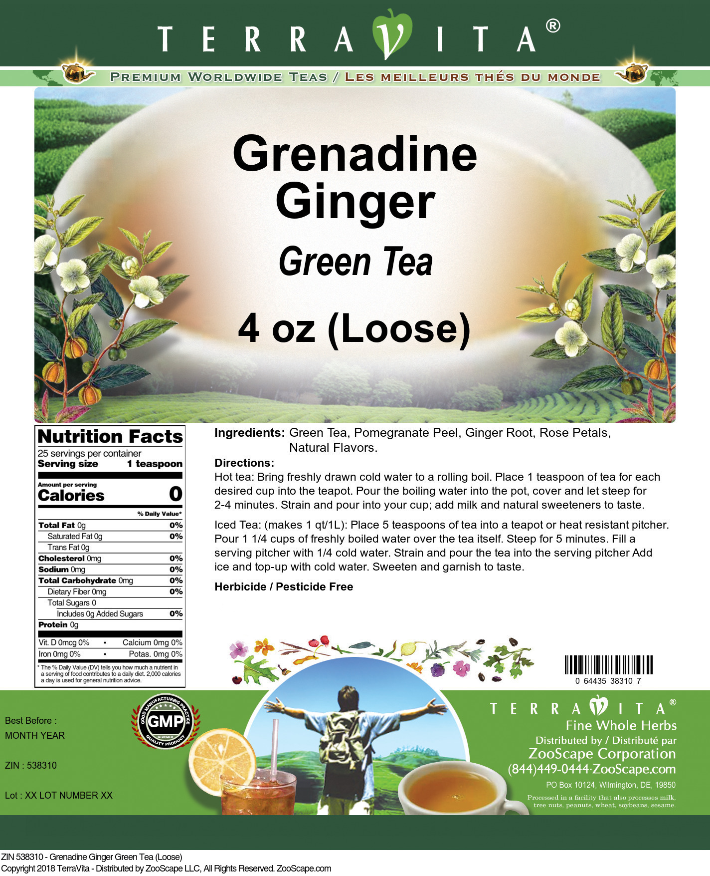 Grenadine Ginger Green Tea