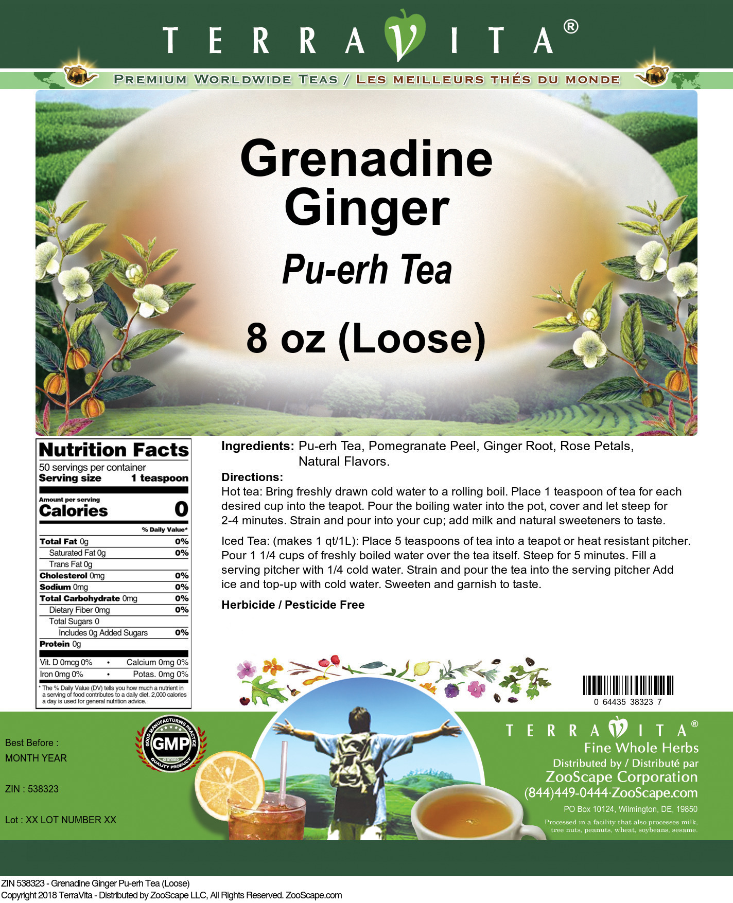 Grenadine Ginger Pu-erh Tea (Loose)