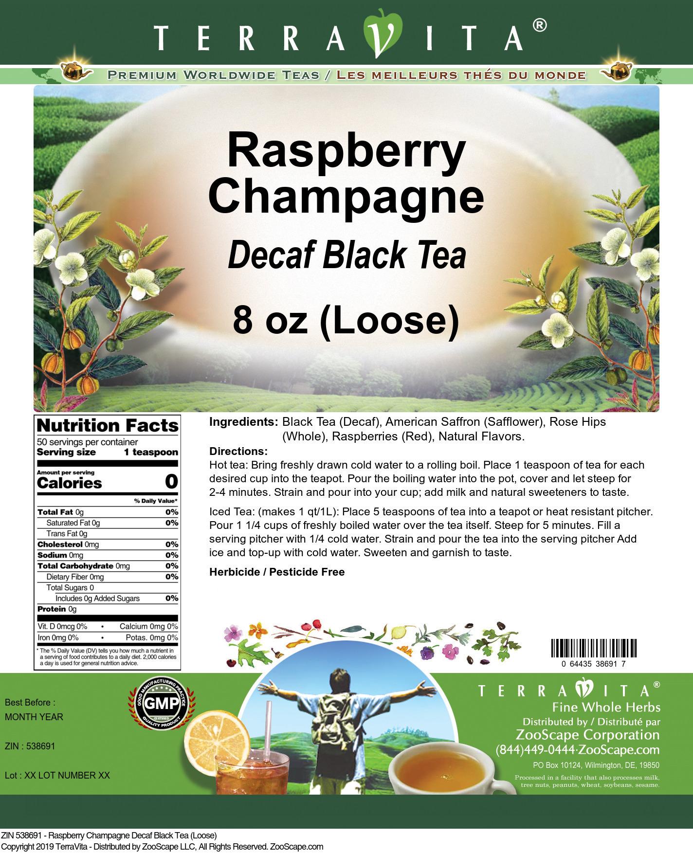 Raspberry Champagne Decaf Black Tea (Loose)