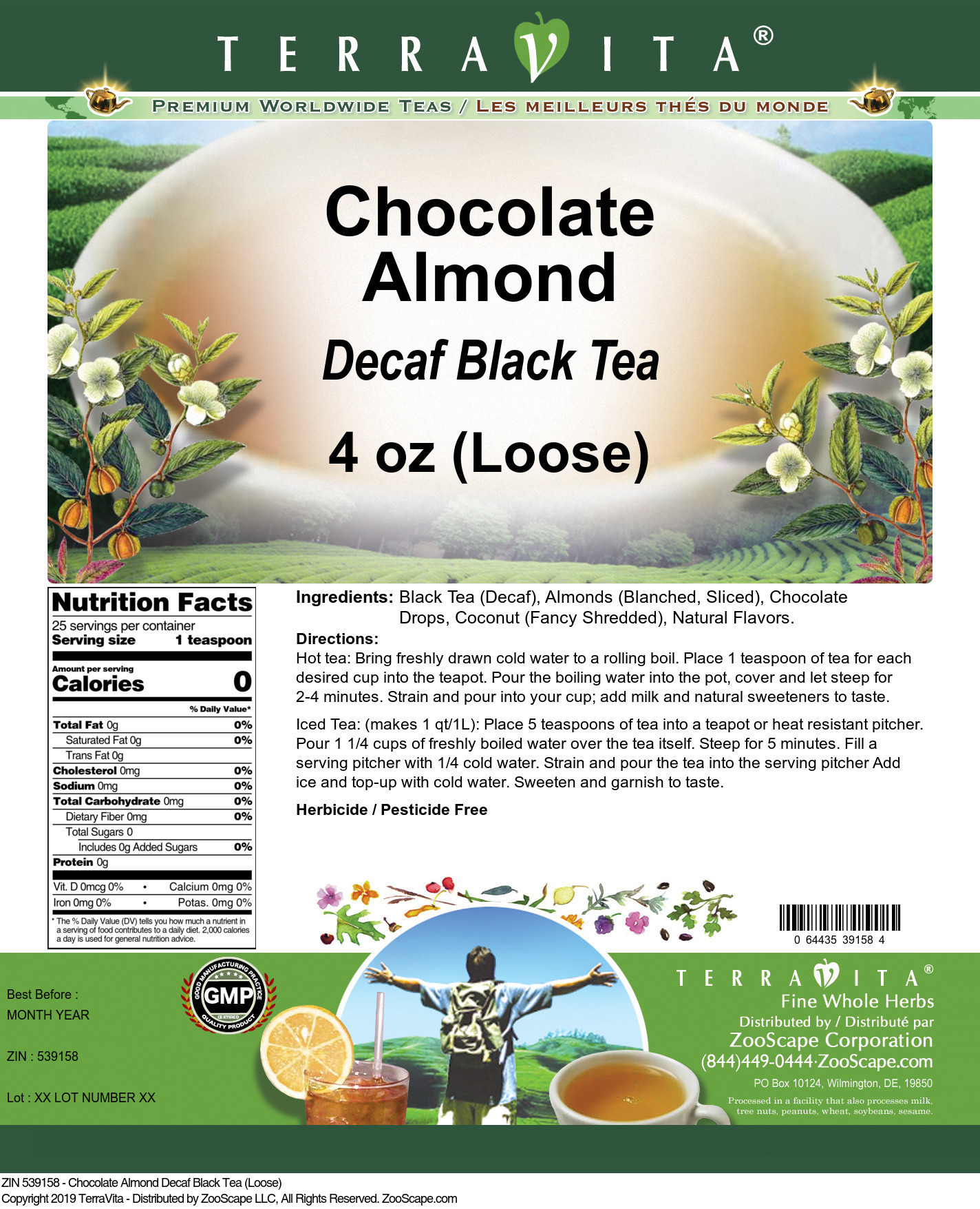 Chocolate Almond Decaf Black Tea (Loose)