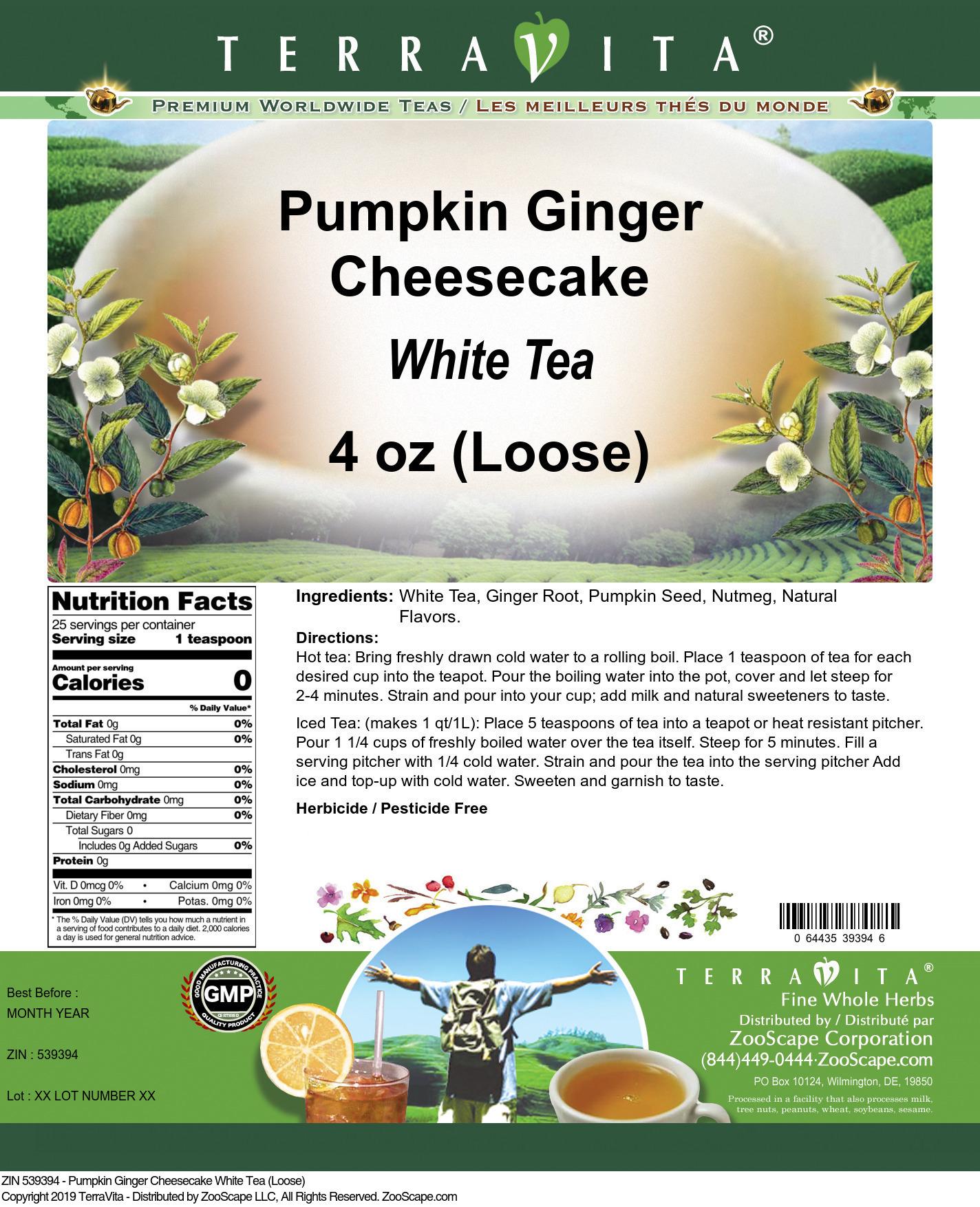 Pumpkin Ginger Cheesecake White Tea (Loose)