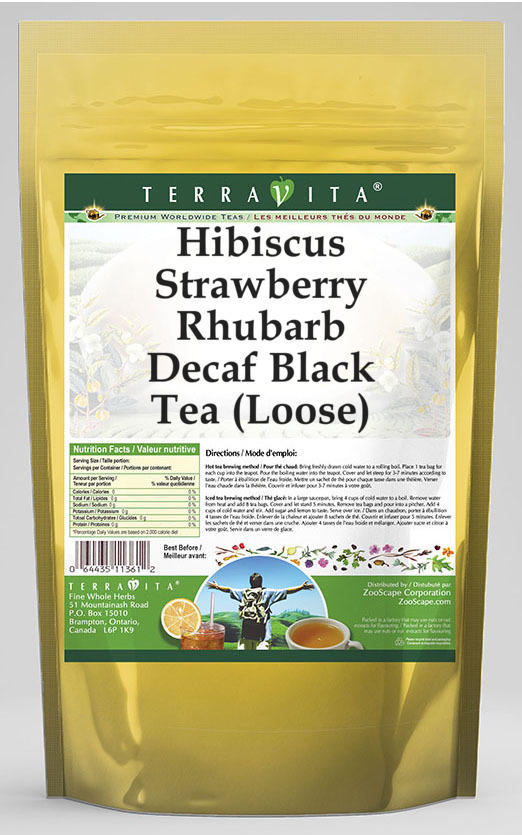 Hibiscus Strawberry Rhubarb Decaf Black Tea (Loose)