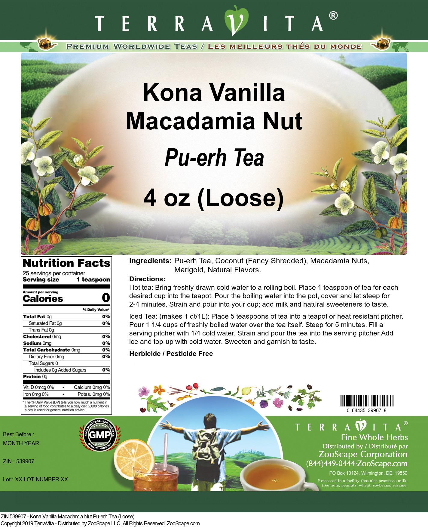 Kona Vanilla Macadamia Nut Pu-erh Tea (Loose)