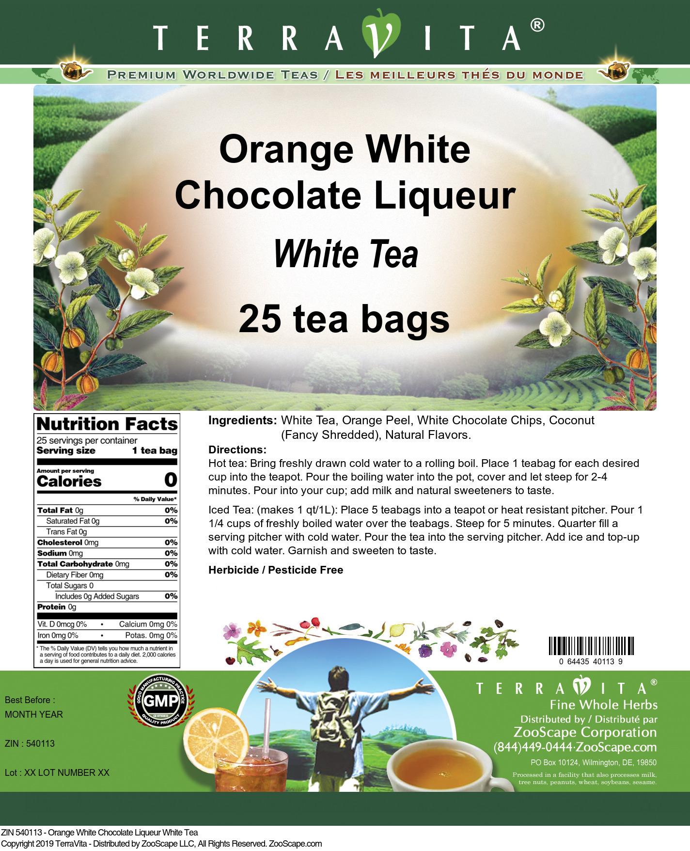 Orange White Chocolate Liqueur White Tea