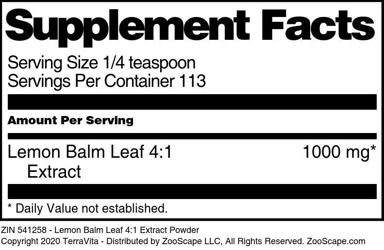 Lemon Balm Leaf 4:1 Extract Powder