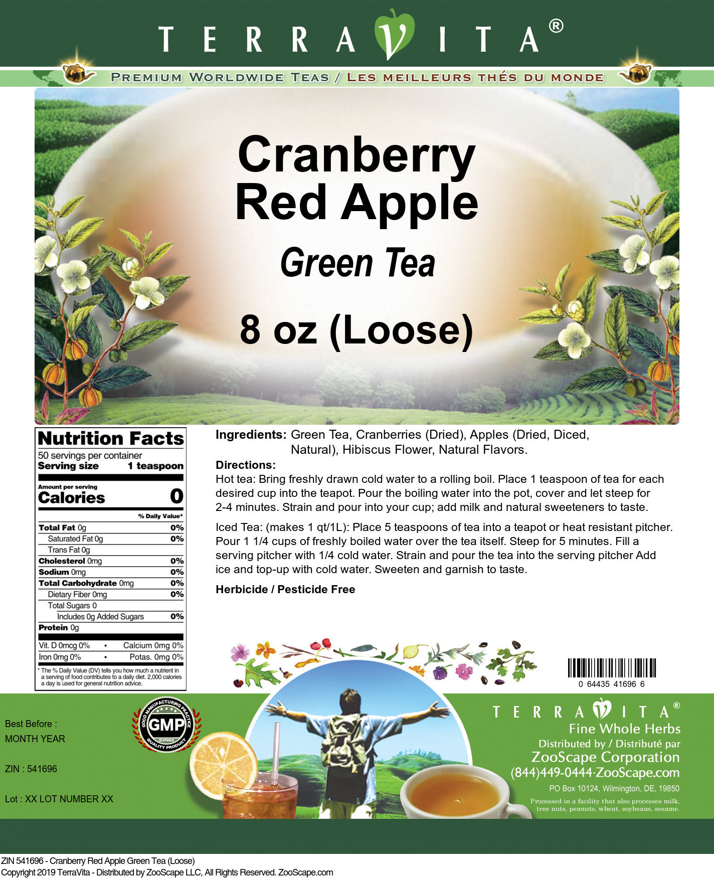 Cranberry Red Apple Green Tea (Loose)