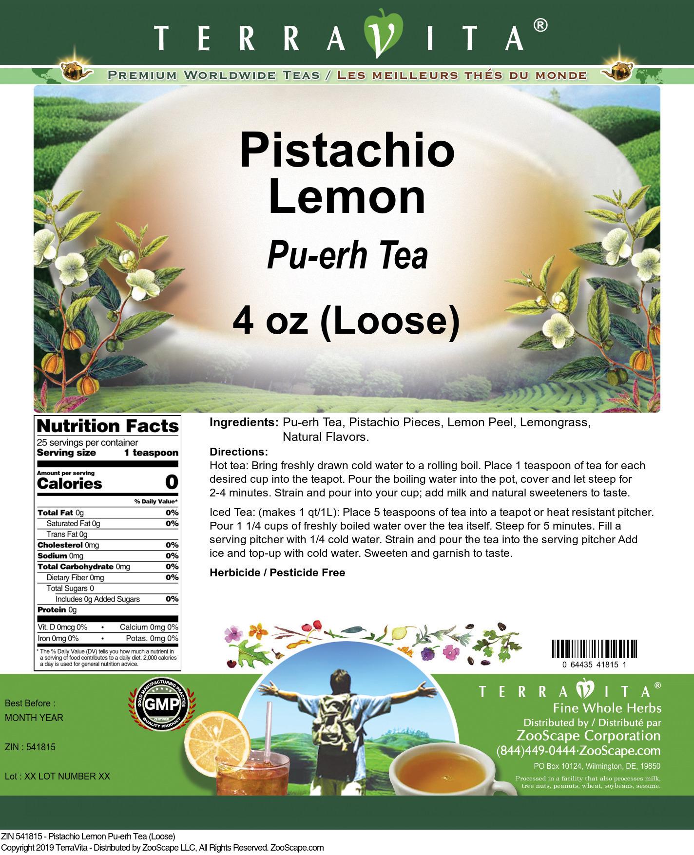 Pistachio Lemon Pu-erh Tea (Loose)