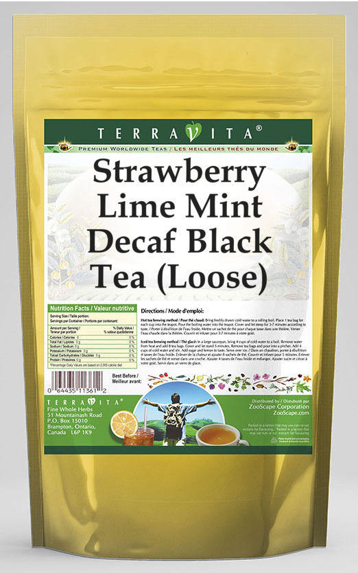 Strawberry Lime Mint Decaf Black Tea (Loose)