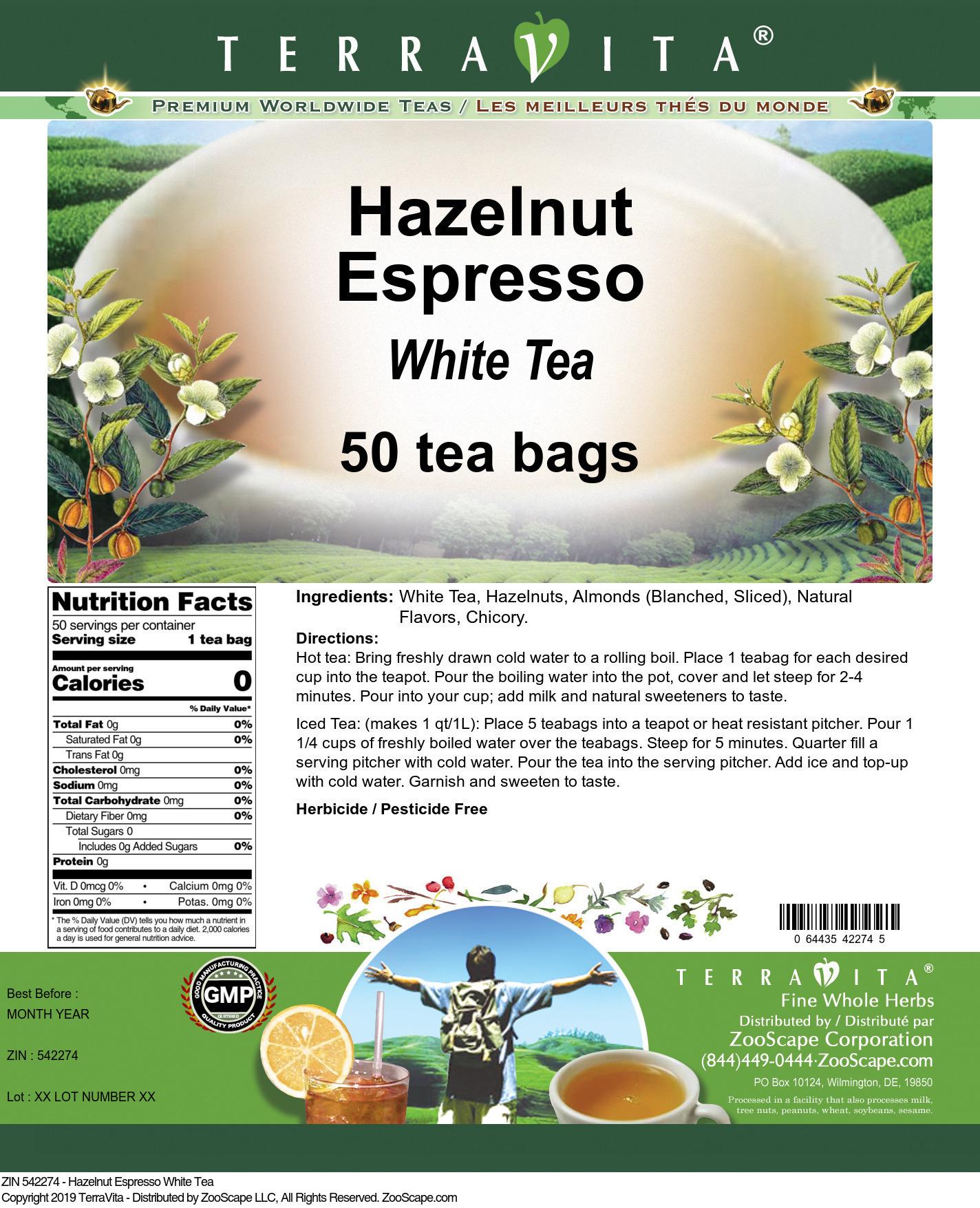 Hazelnut Espresso White Tea