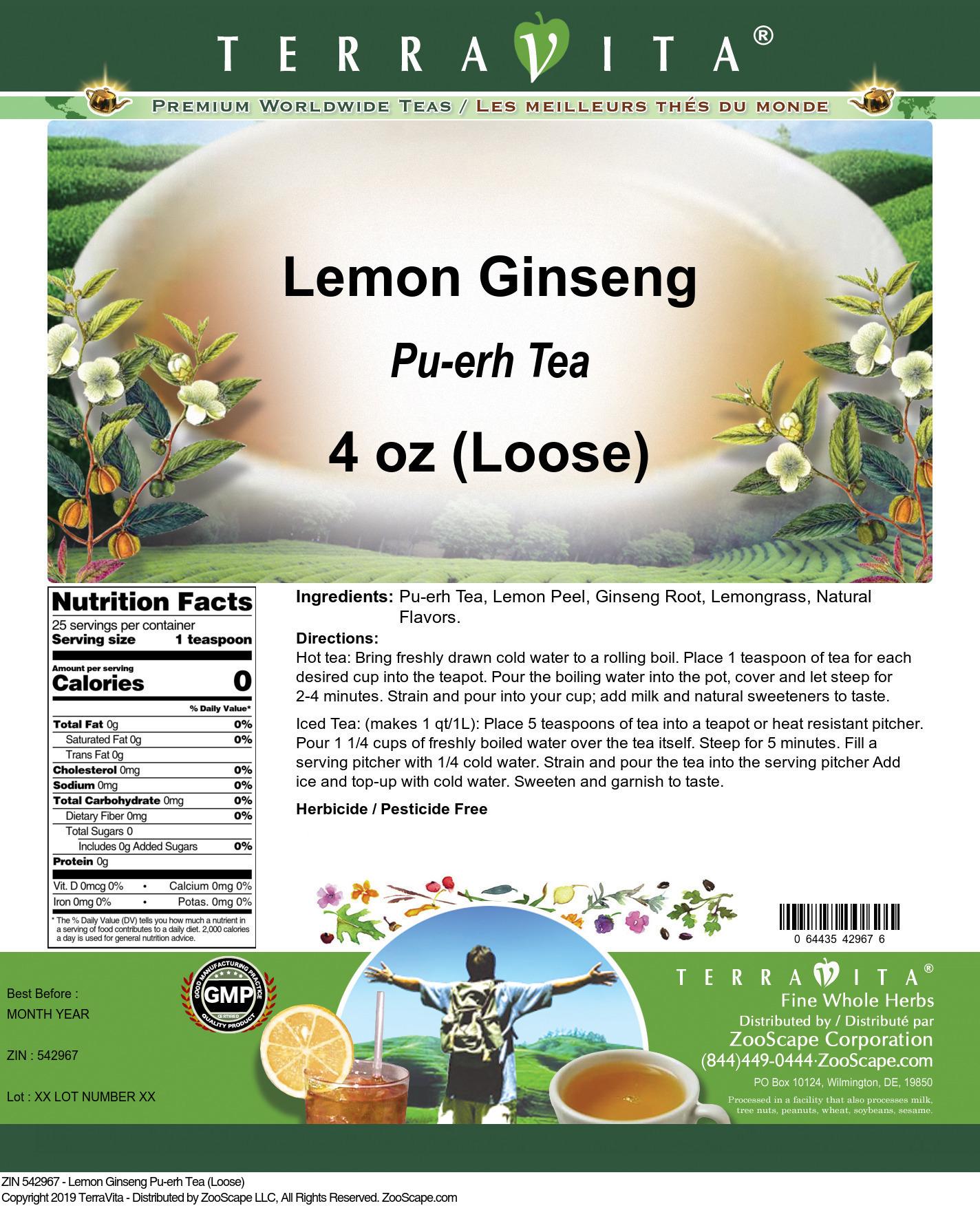 Lemon Ginseng Pu-erh Tea (Loose)
