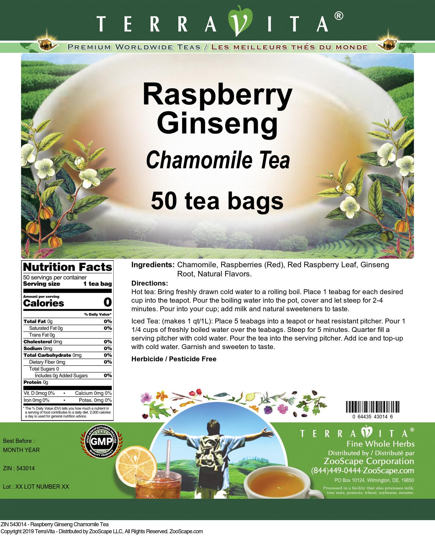 Raspberry Ginseng Chamomile Tea