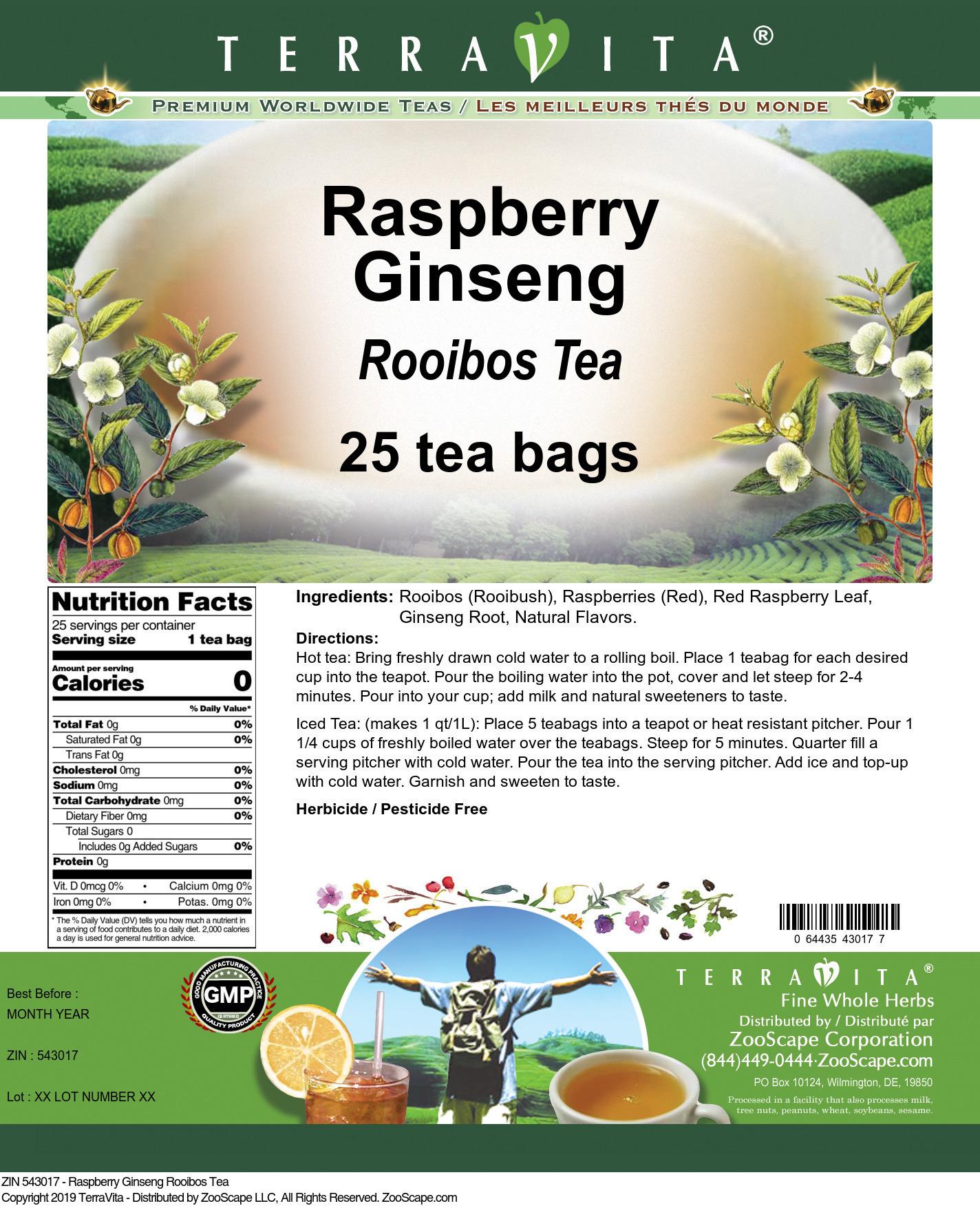 Raspberry Ginseng Rooibos Tea