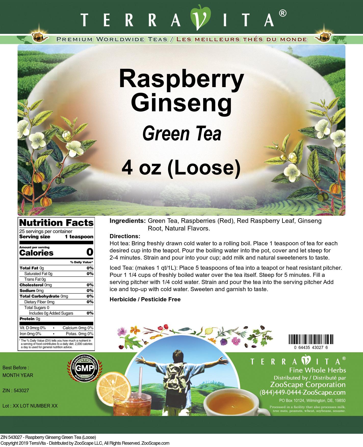 Raspberry Ginseng Green Tea (Loose)