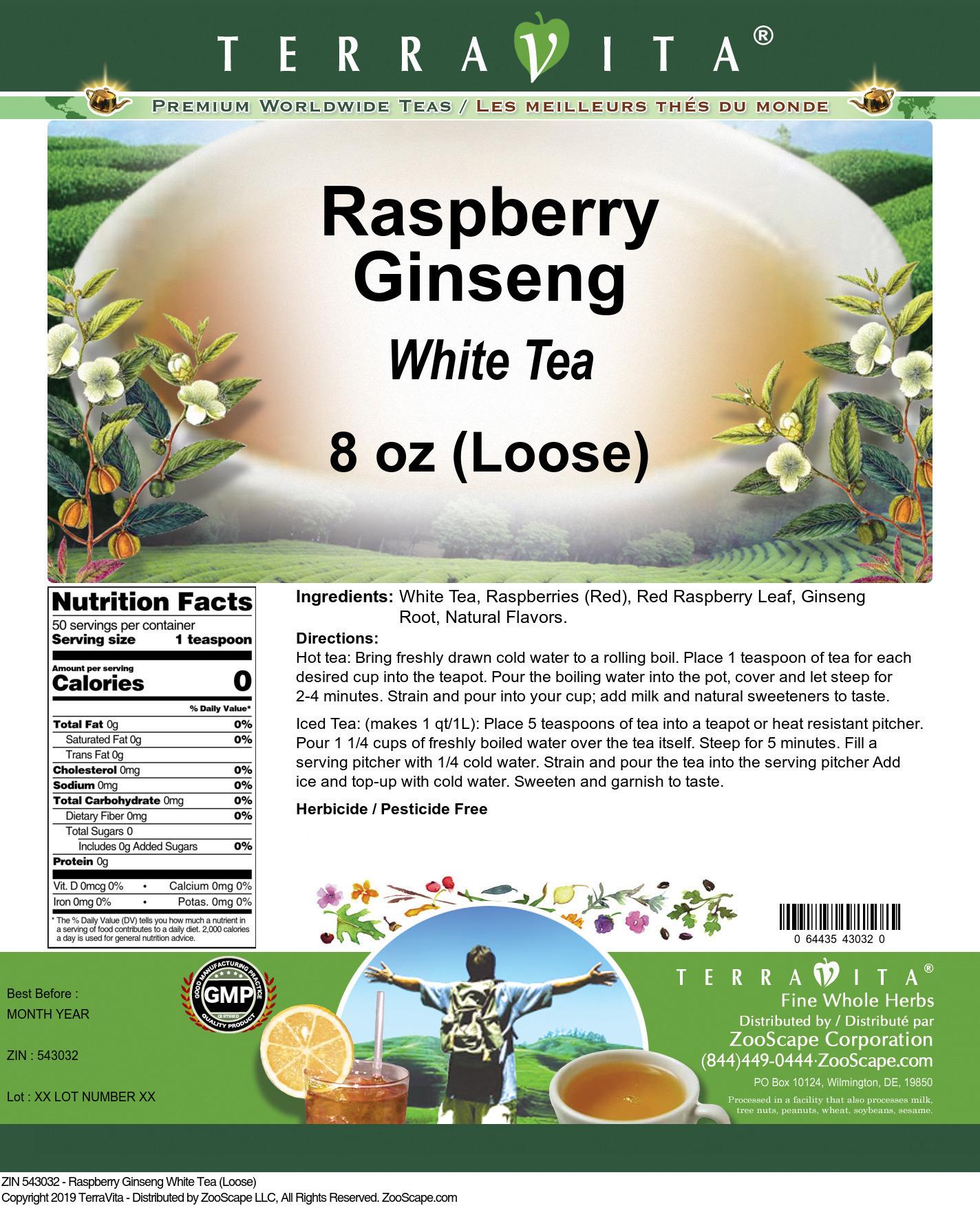 Raspberry Ginseng White Tea (Loose)