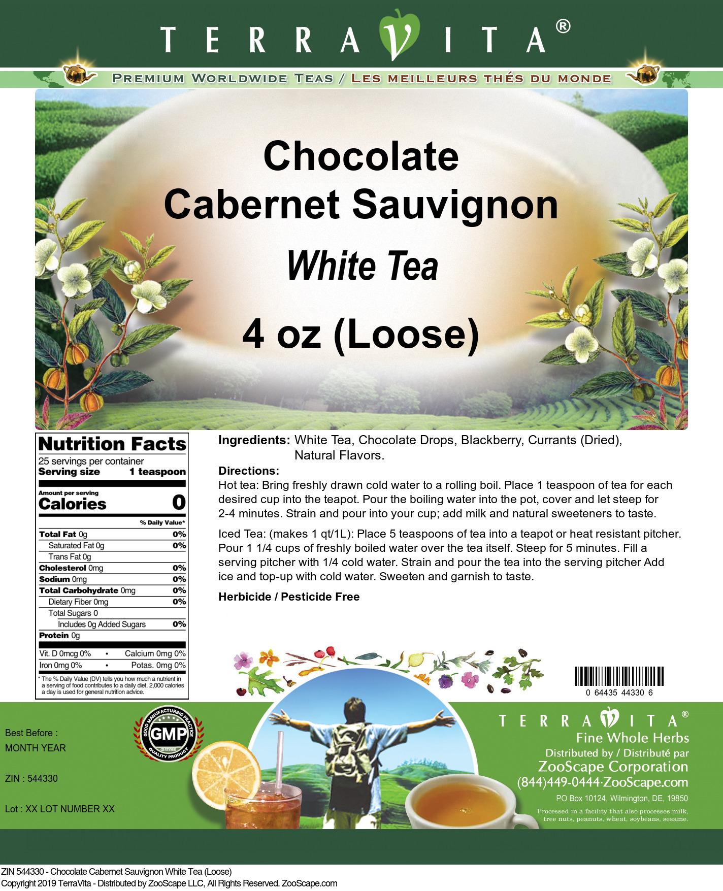 Chocolate Cabernet Sauvignon White Tea (Loose)