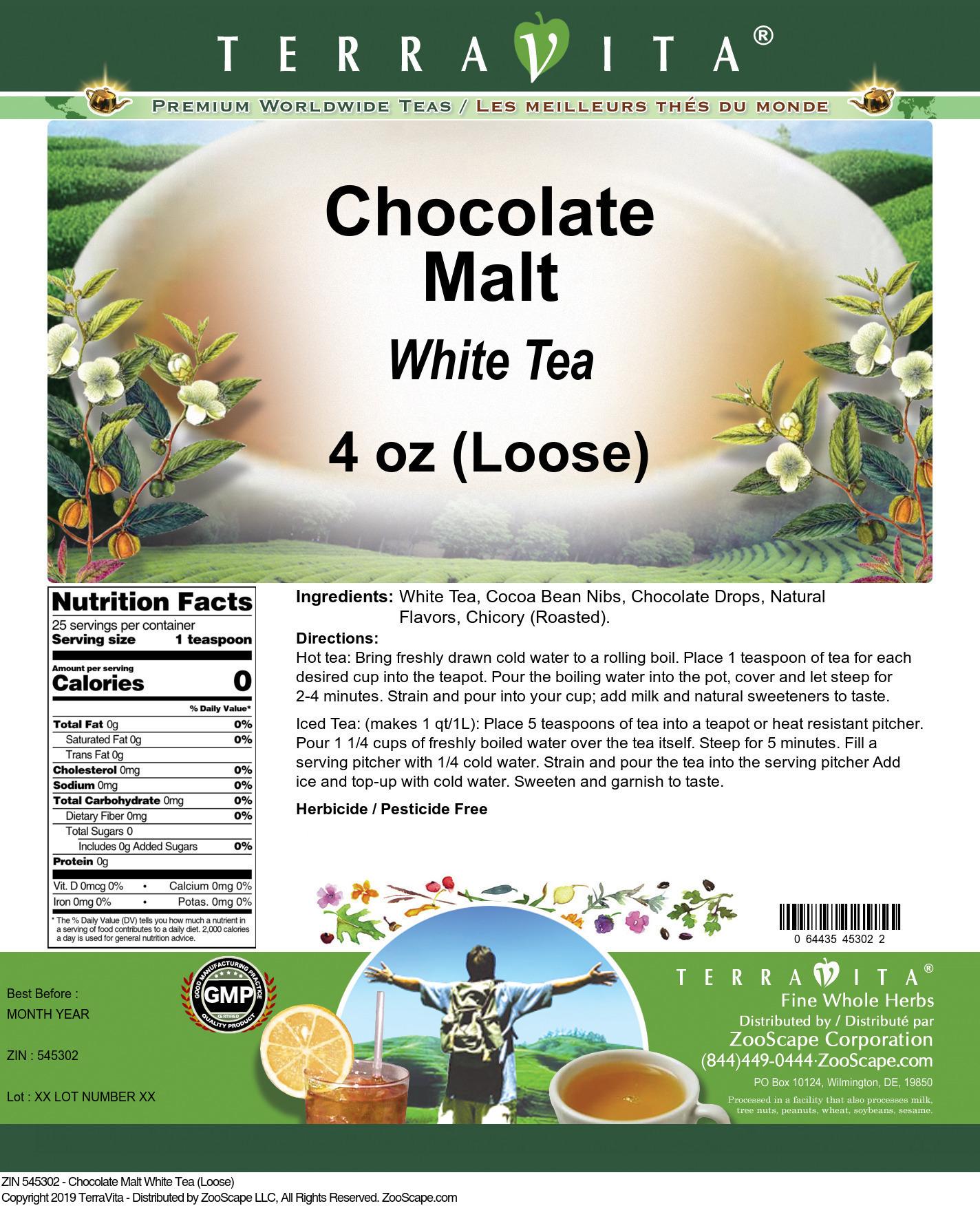 Chocolate Malt White Tea (Loose)