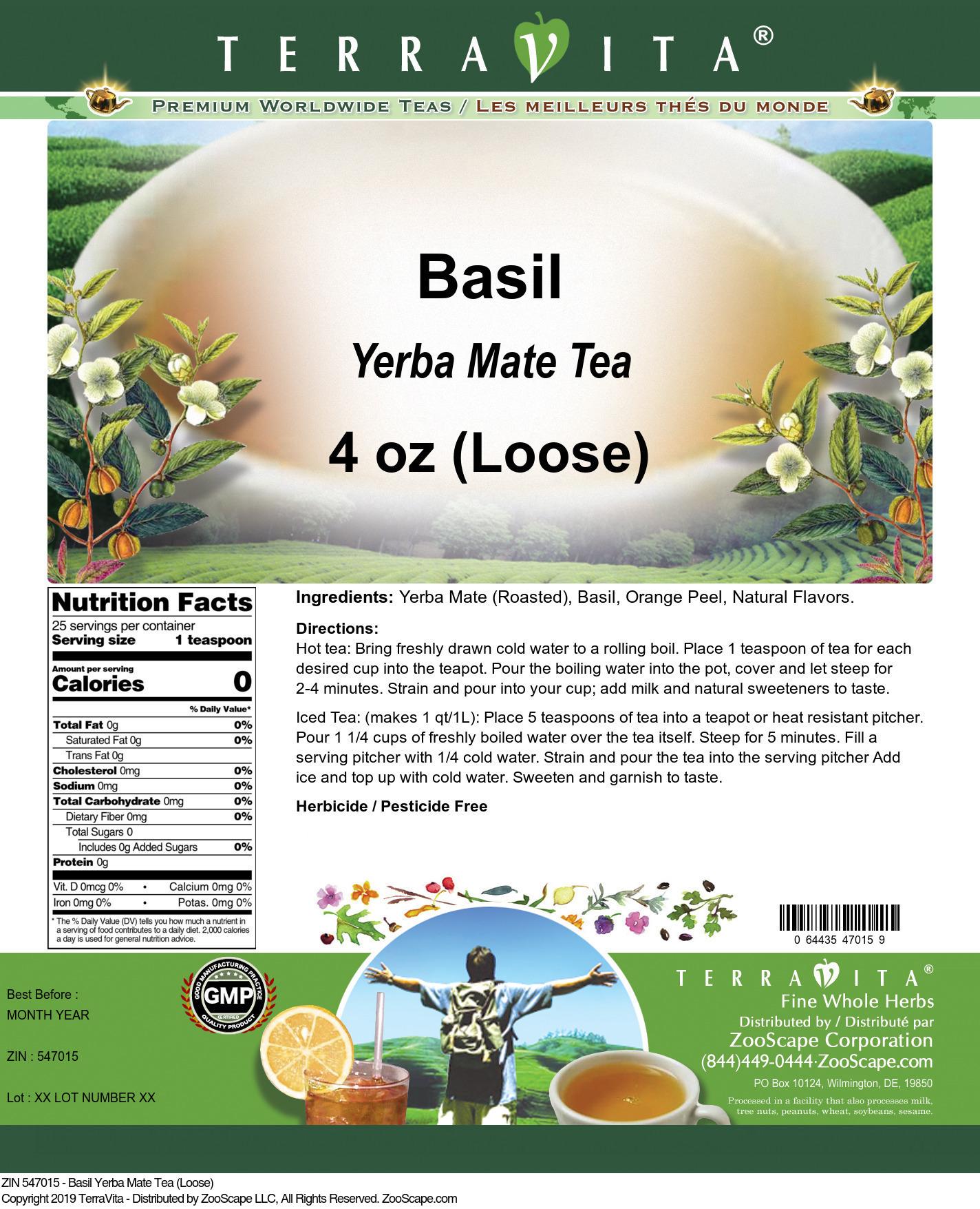 Basil Yerba Mate Tea (Loose)