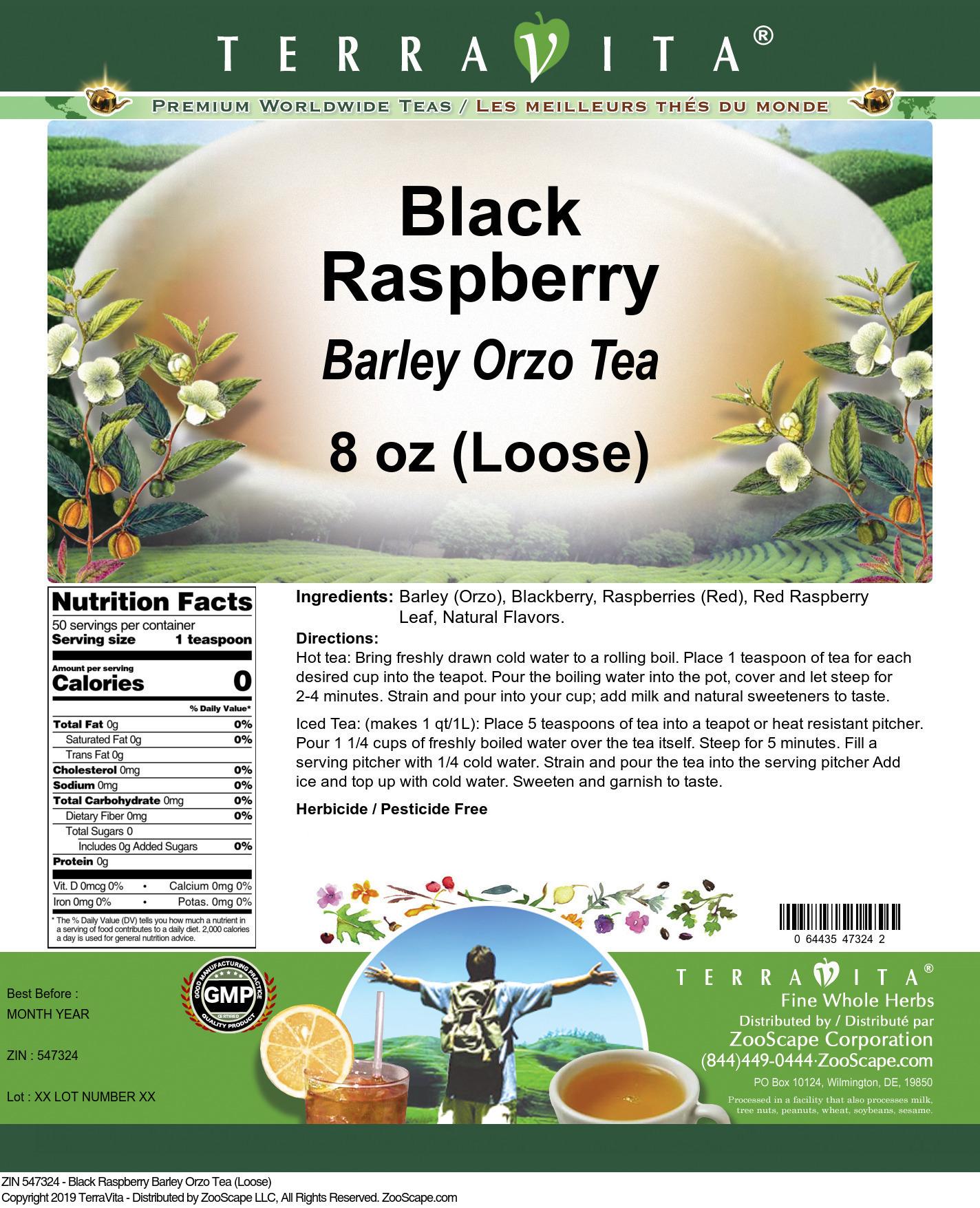 Black Raspberry Barley Orzo Tea (Loose)