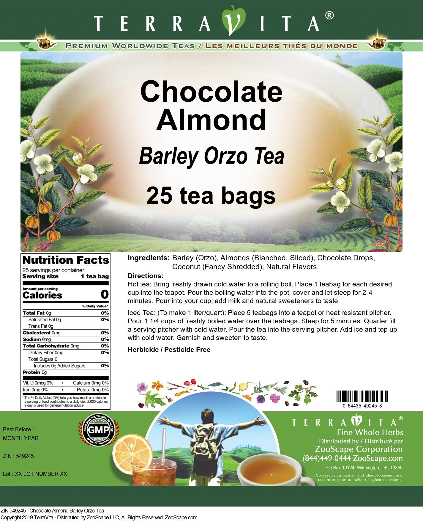 Chocolate Almond Barley Orzo