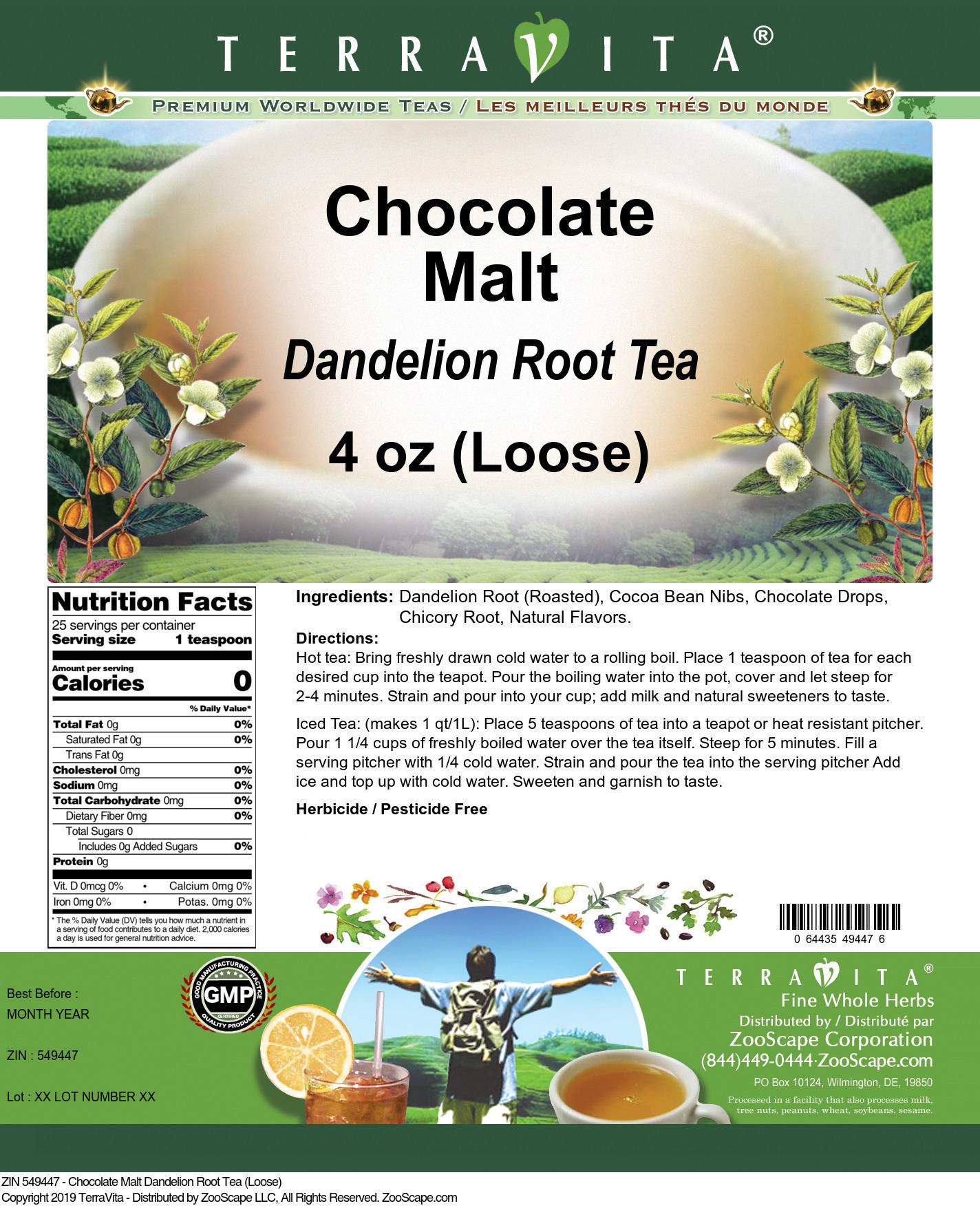 Chocolate Malt Dandelion Root Tea (Loose)