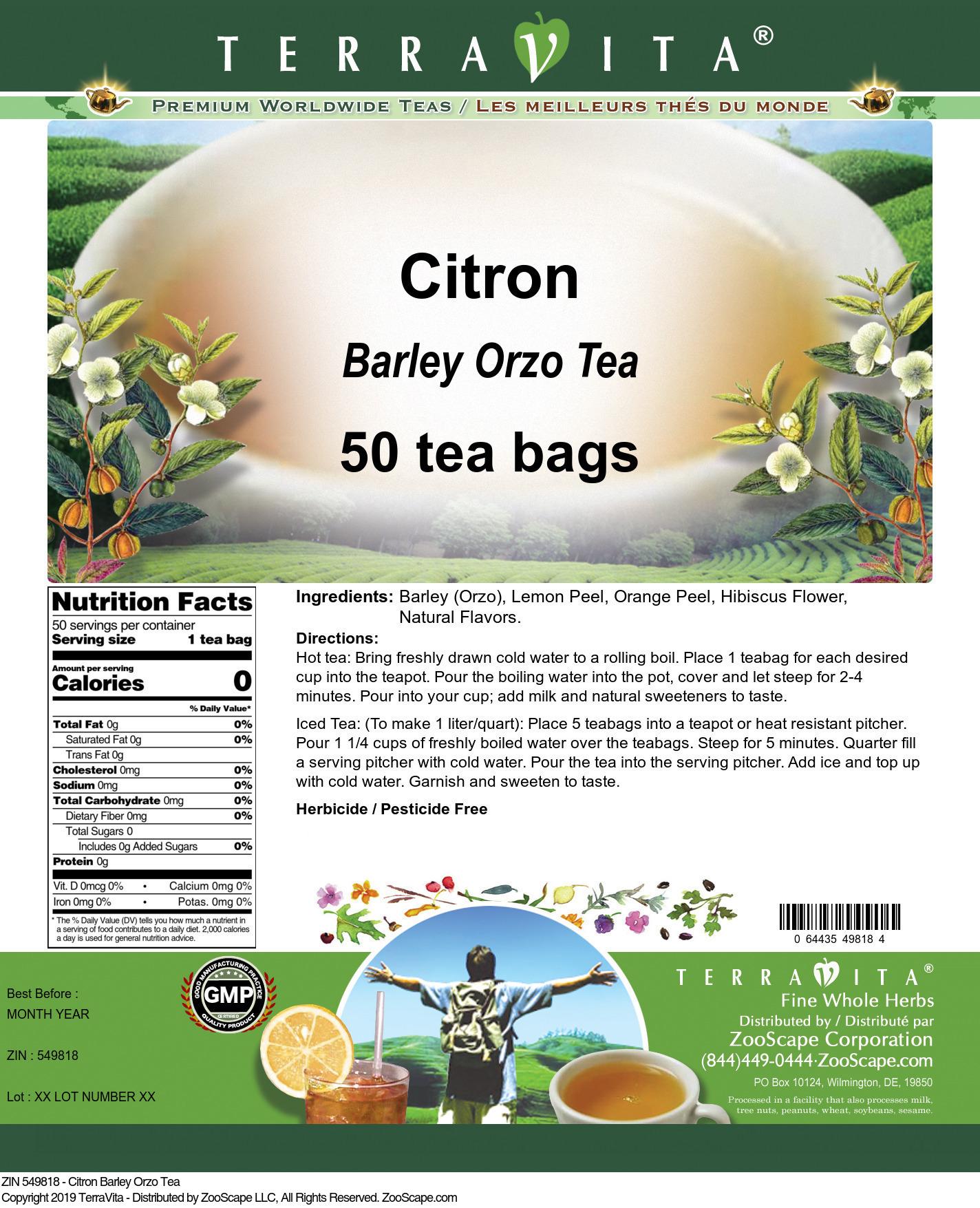 Citron Barley Orzo Tea