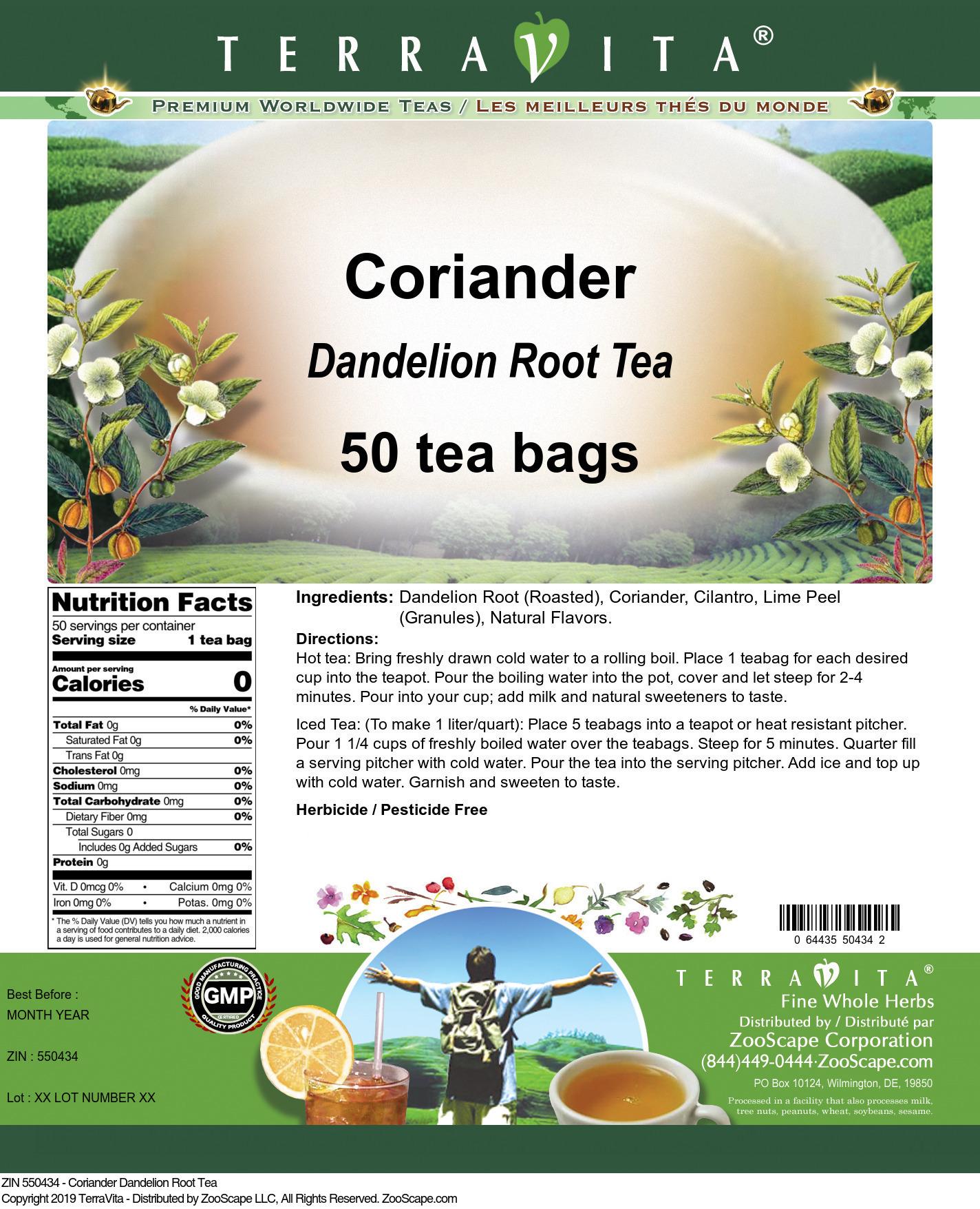 Coriander Dandelion Root Tea