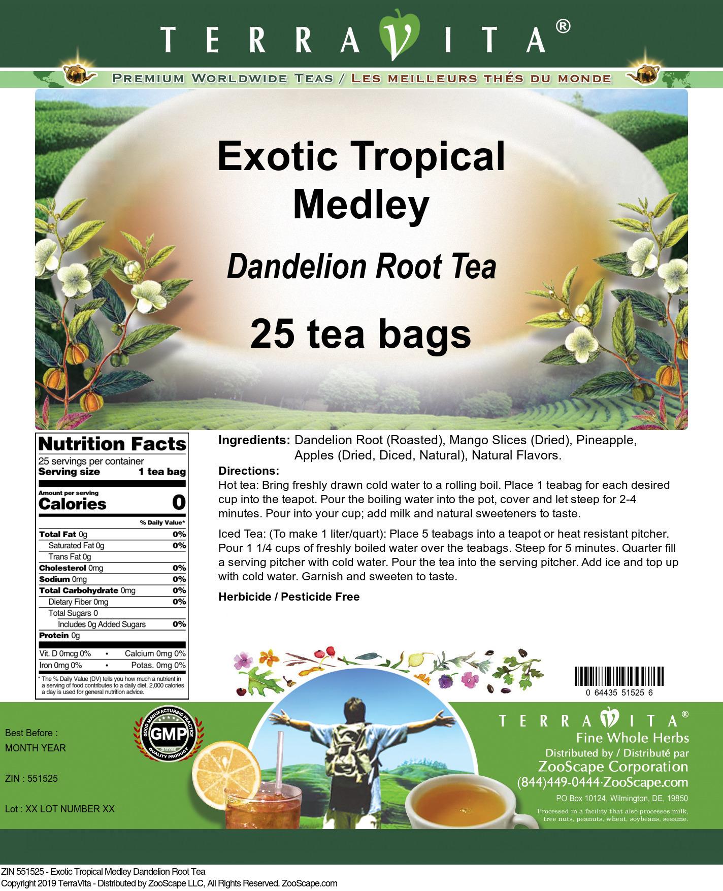 Exotic Tropical Medley Dandelion Root Tea