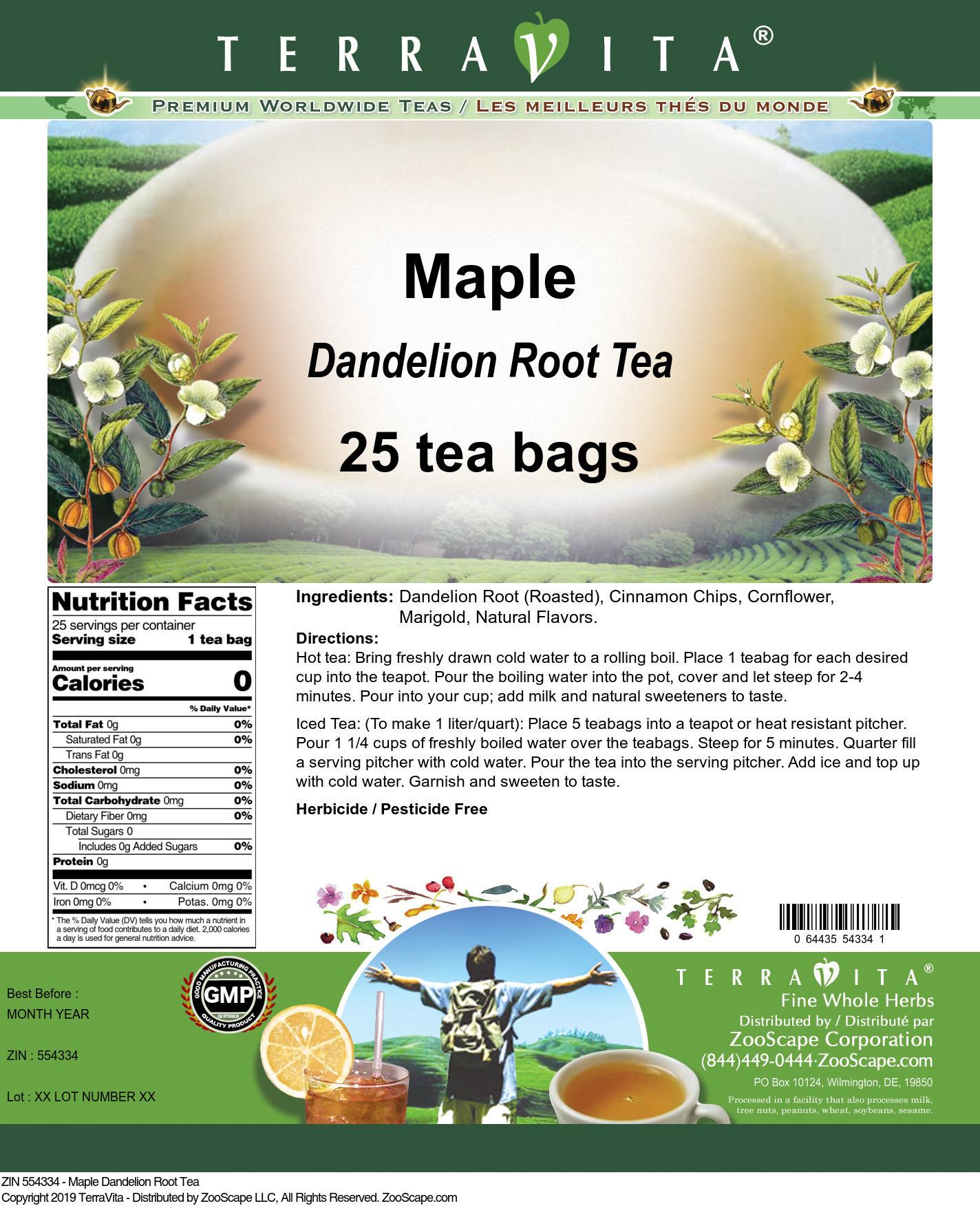 Maple Dandelion Root Tea