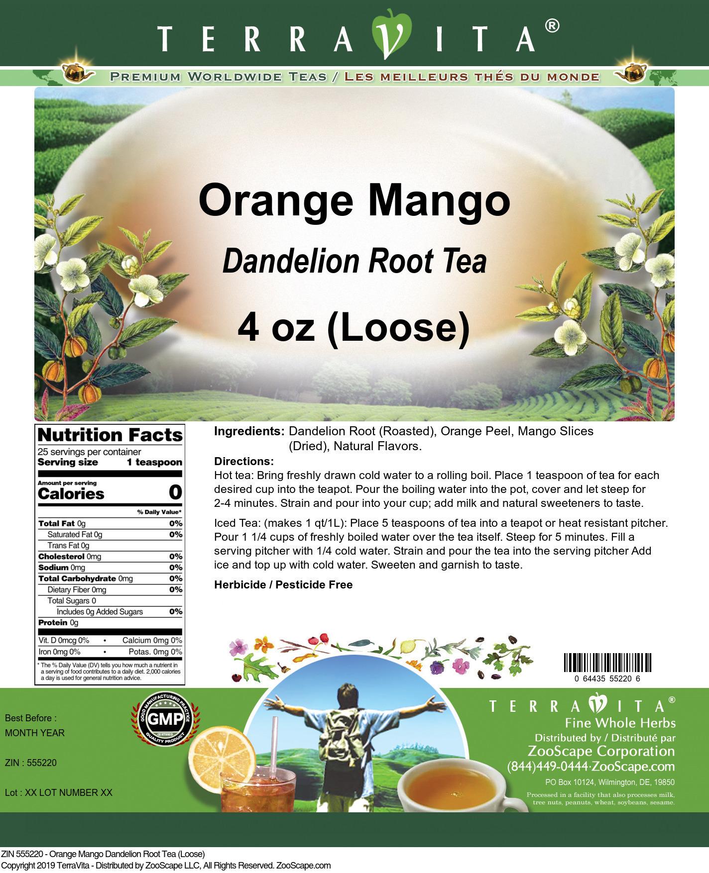 Orange Mango Dandelion Root Tea (Loose)