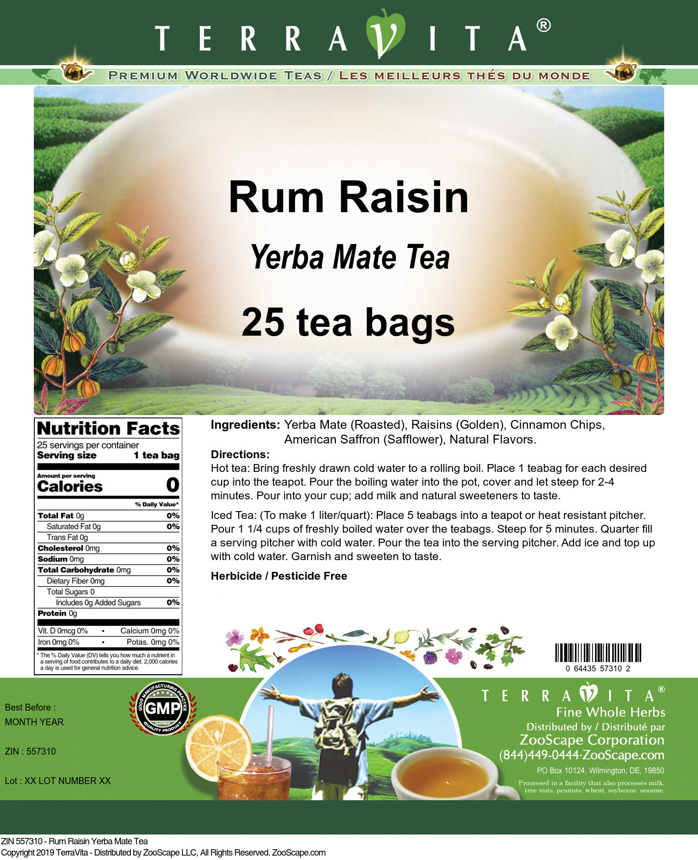 Rum Raisin Yerba Mate Tea