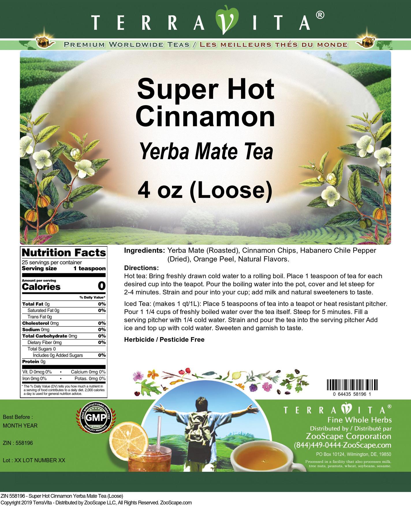 Super Hot Cinnamon Yerba Mate Tea (Loose)
