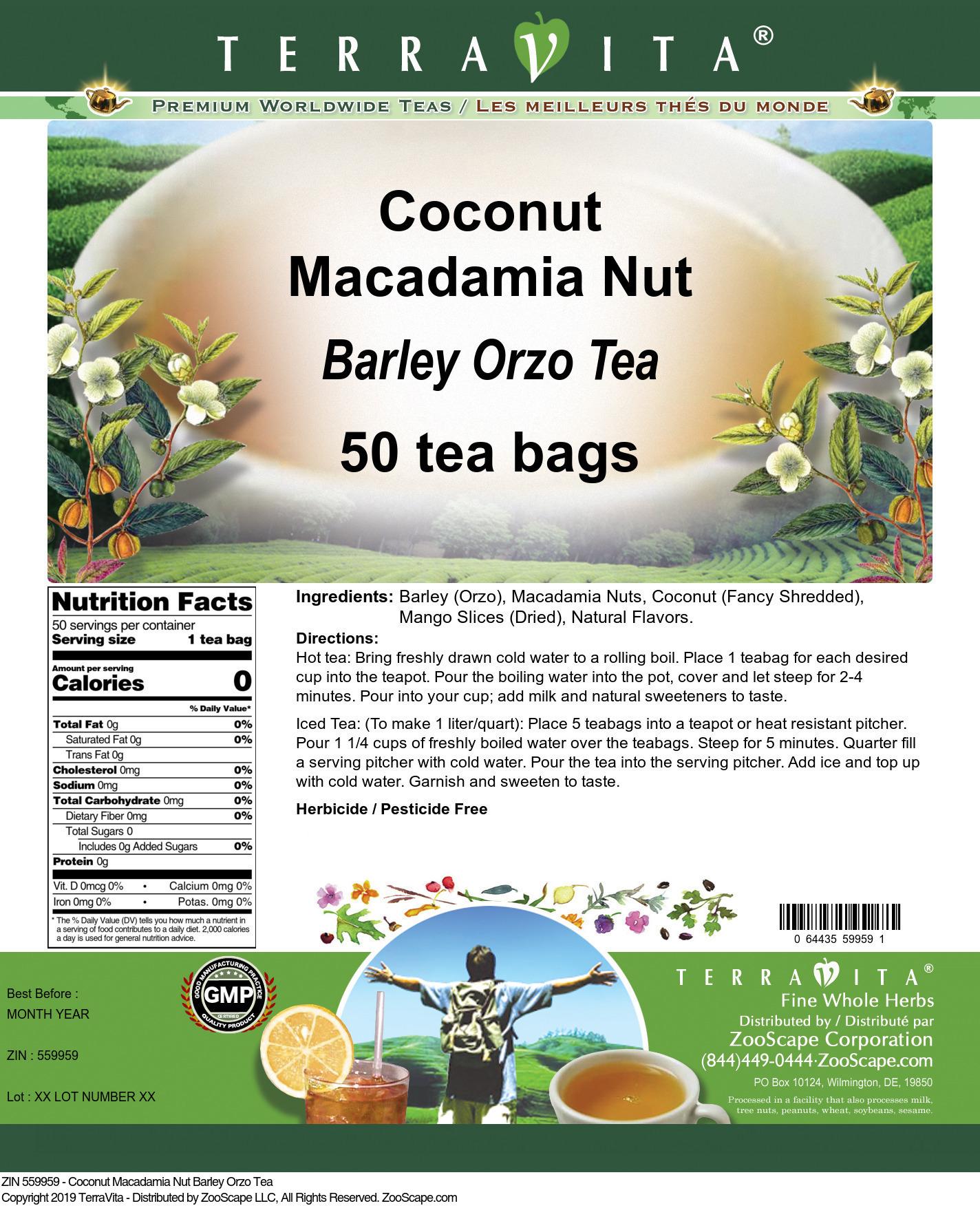 Coconut Macadamia Nut Barley Orzo Tea