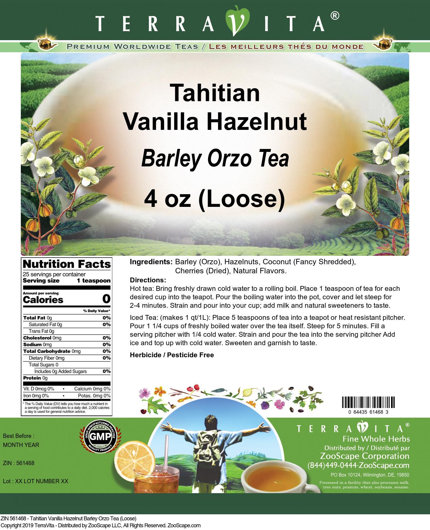 Tahitian Vanilla Hazelnut Barley Orzo Tea (Loose)