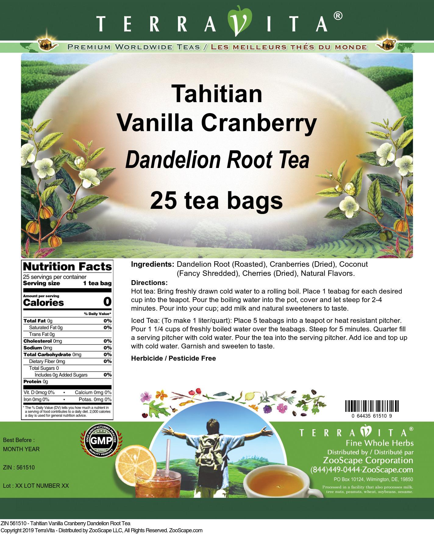 Tahitian Vanilla Cranberry Dandelion Root Tea