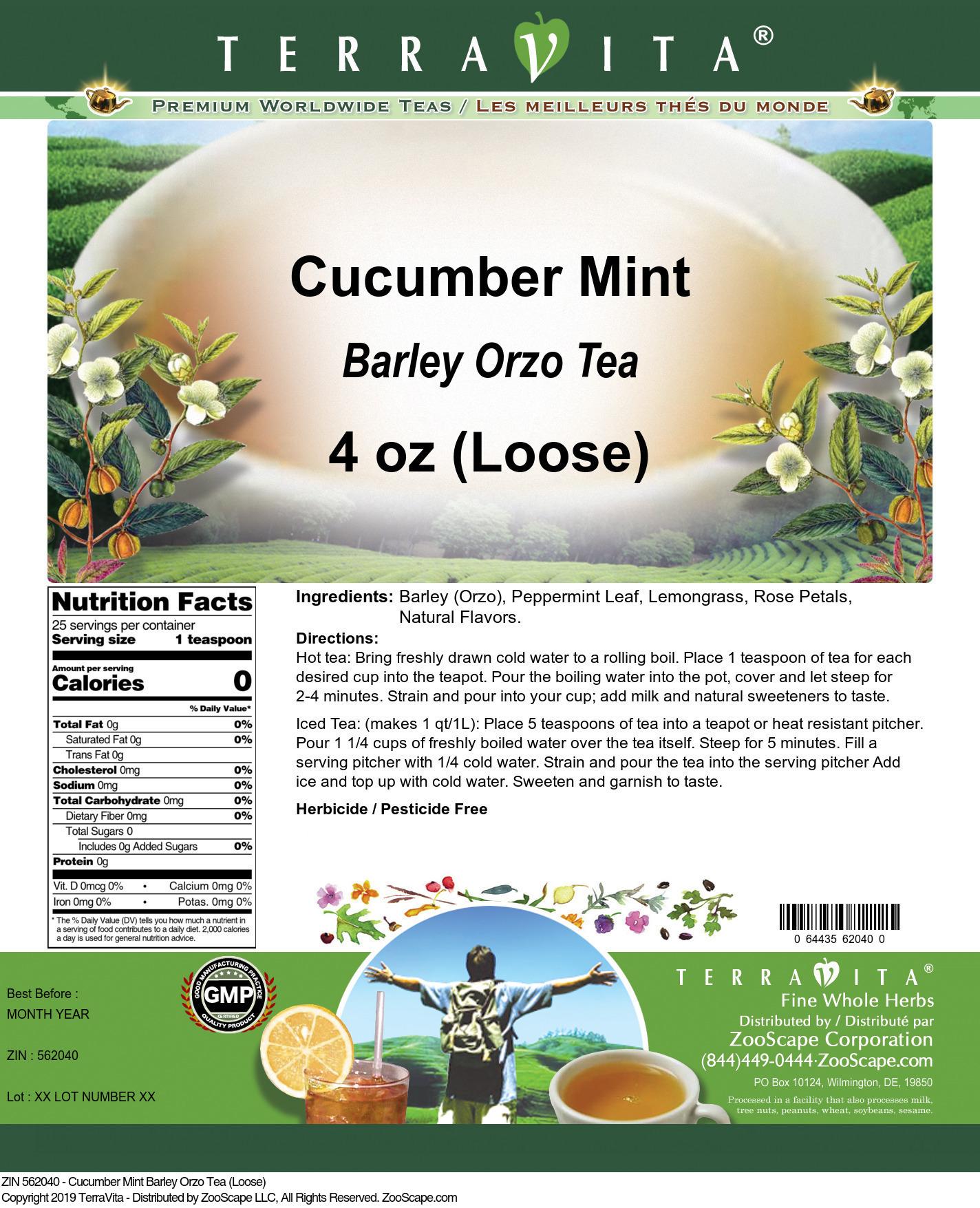 Cucumber Mint Barley Orzo Tea (Loose)