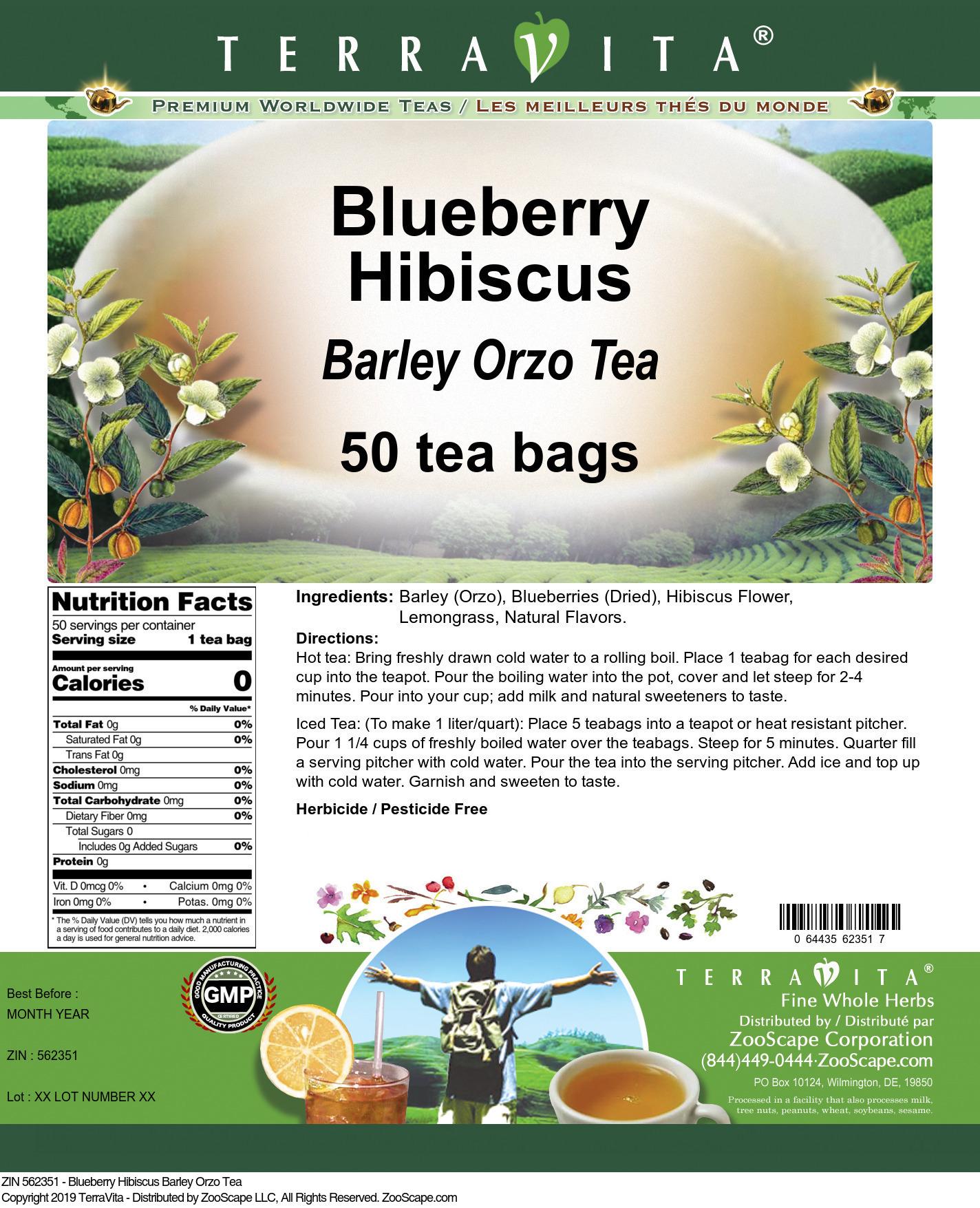Blueberry Hibiscus Barley Orzo Tea