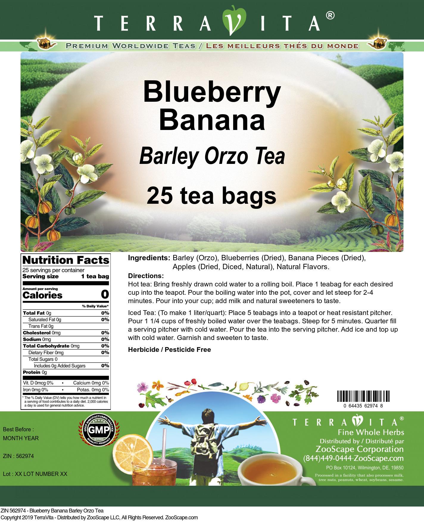 Blueberry Banana Barley Orzo Tea