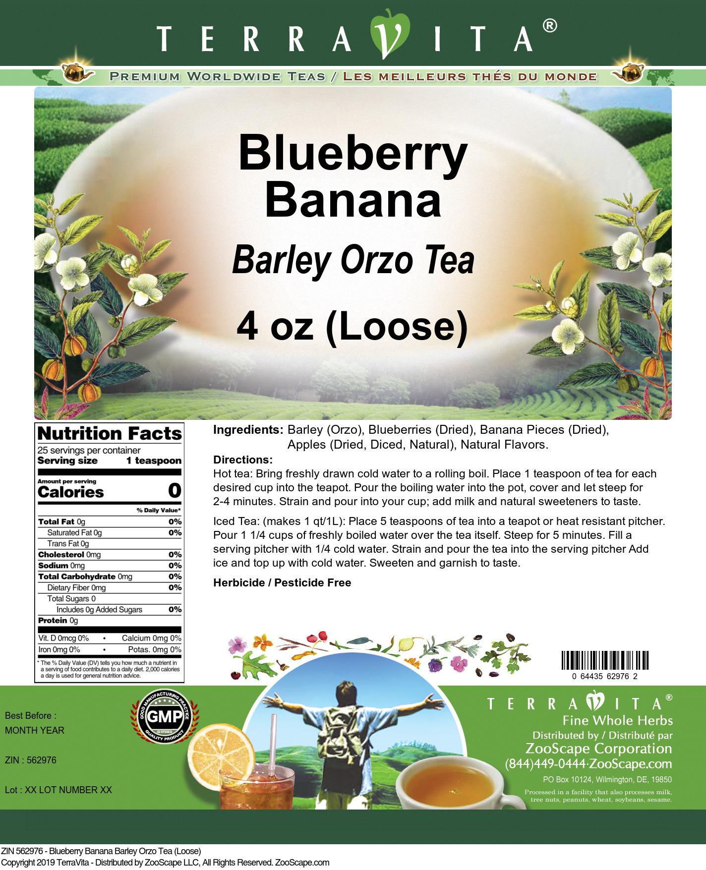 Blueberry Banana Barley Orzo Tea (Loose)