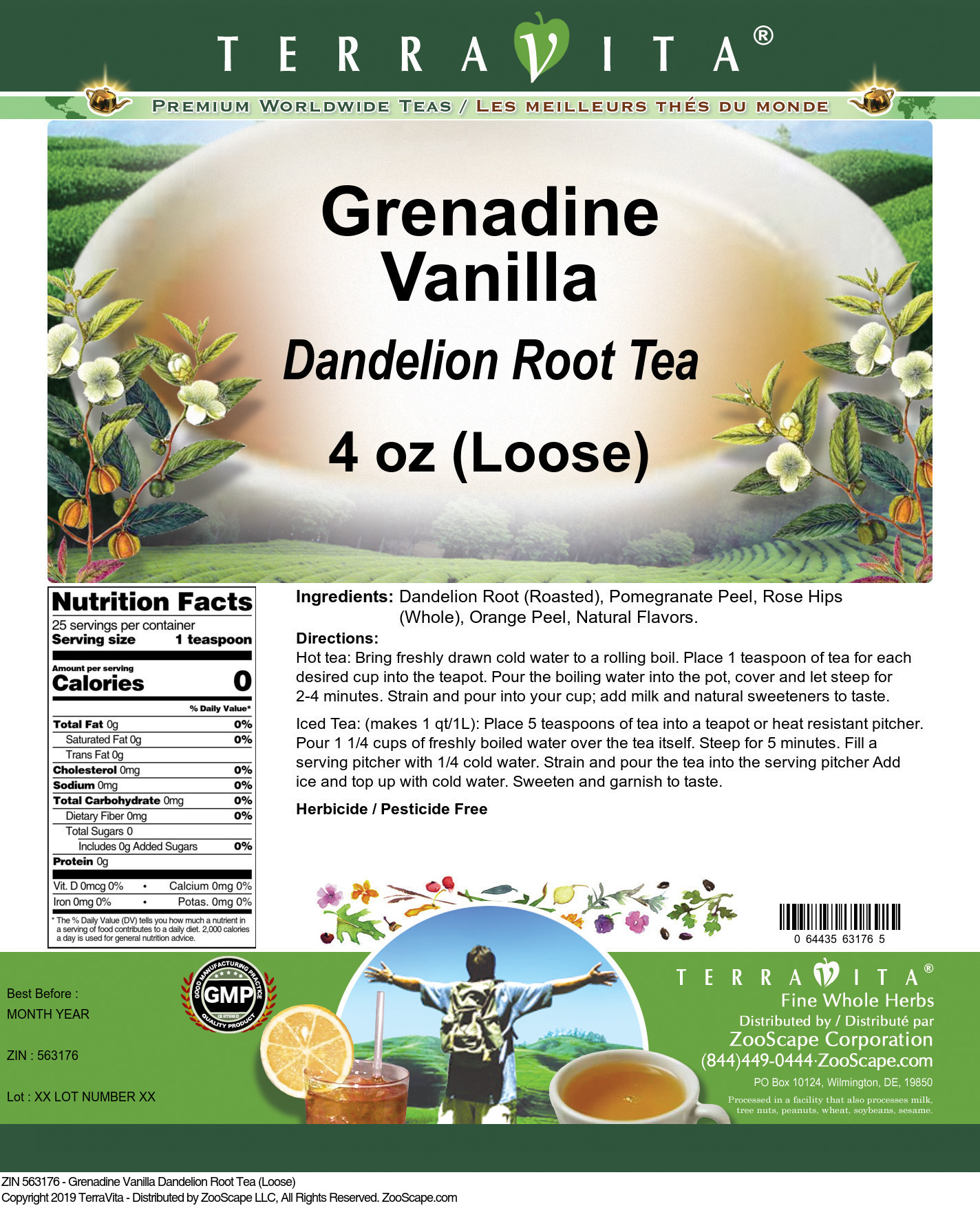 Grenadine Vanilla Dandelion Root Tea (Loose)