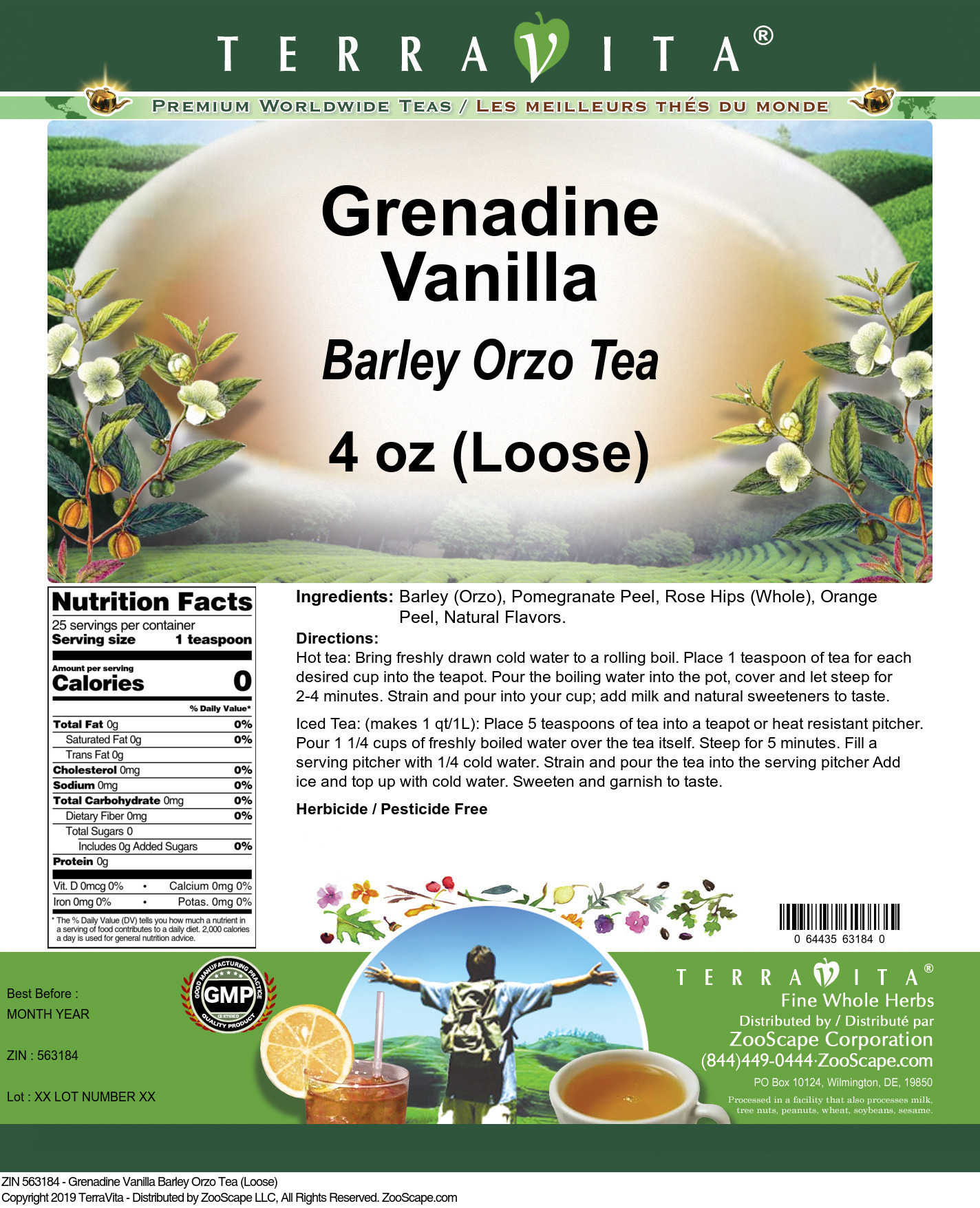 Grenadine Vanilla Barley Orzo Tea (Loose)